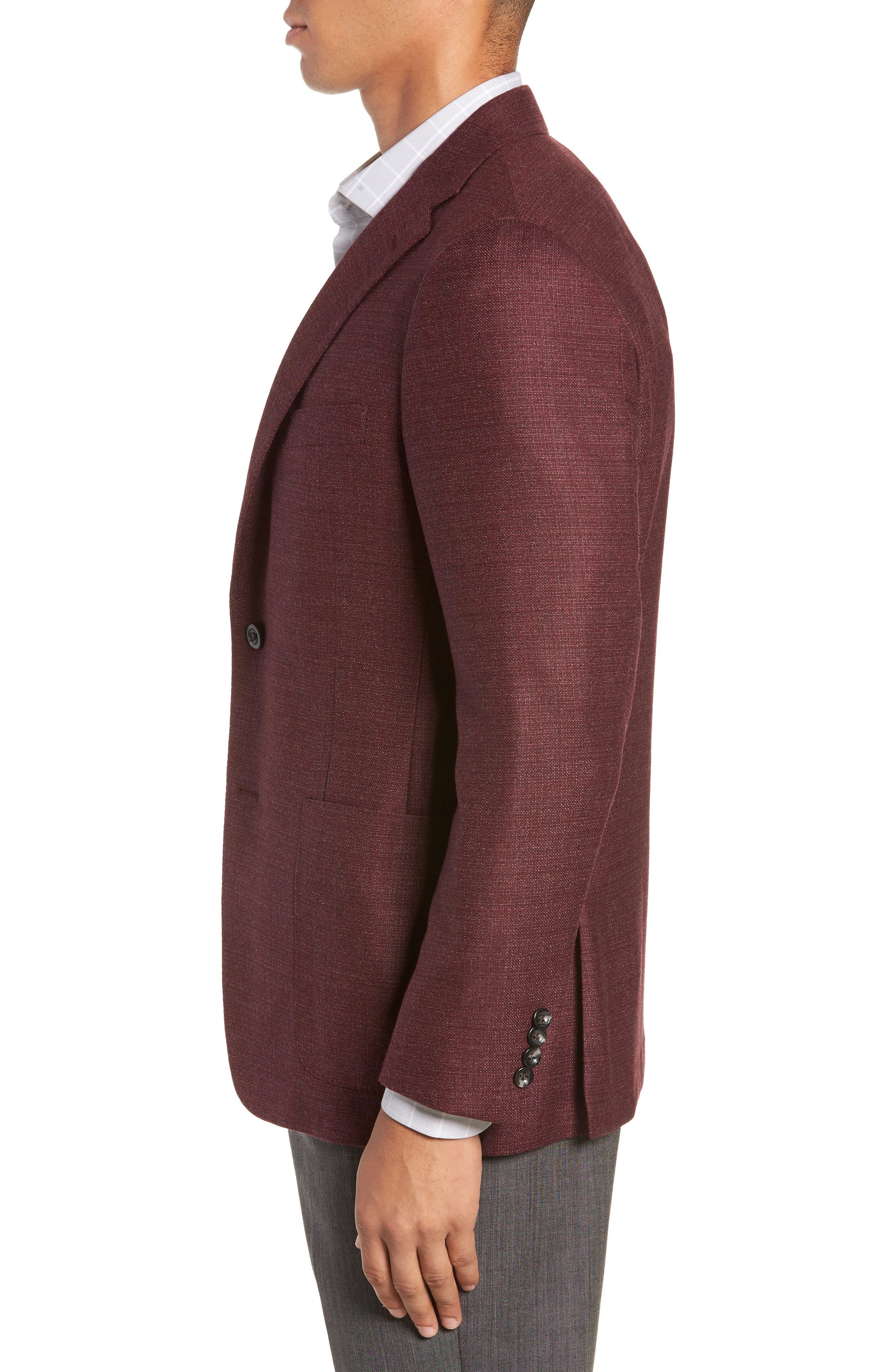 Weightless Classic Fit Wool & Silk Sport Coat,                             Alternate thumbnail 3, color,                             BURGUNDY