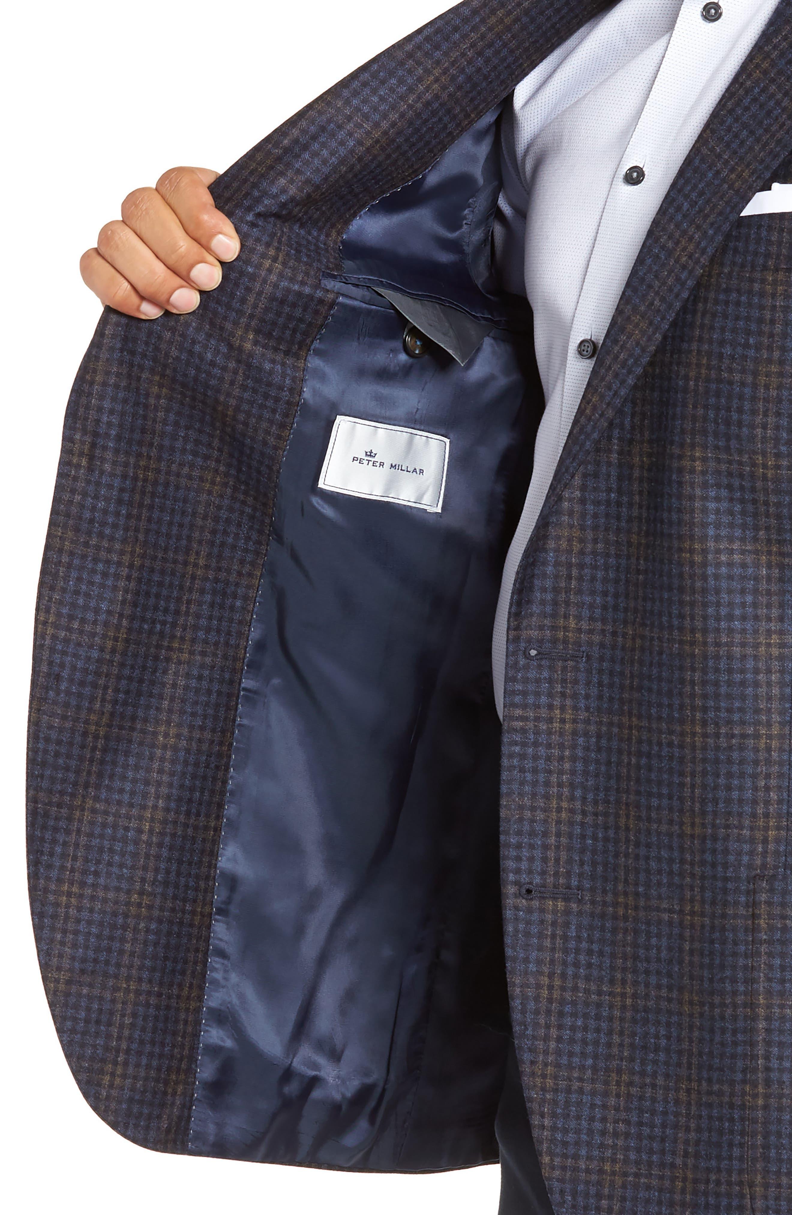 PETER MILLAR,                             Classic Fit Check Wool Sport Coat,                             Alternate thumbnail 4, color,                             NAVY