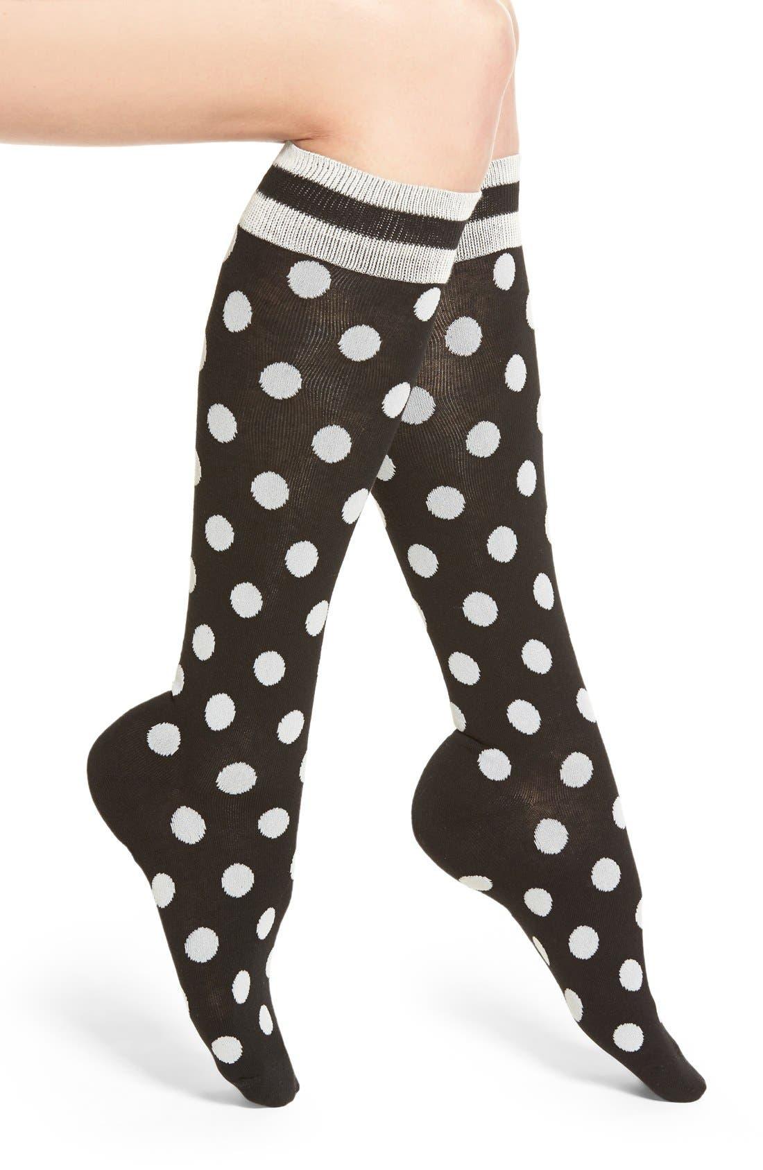 kate spade new yoke polka dot knee high socks,                             Main thumbnail 1, color,                             001