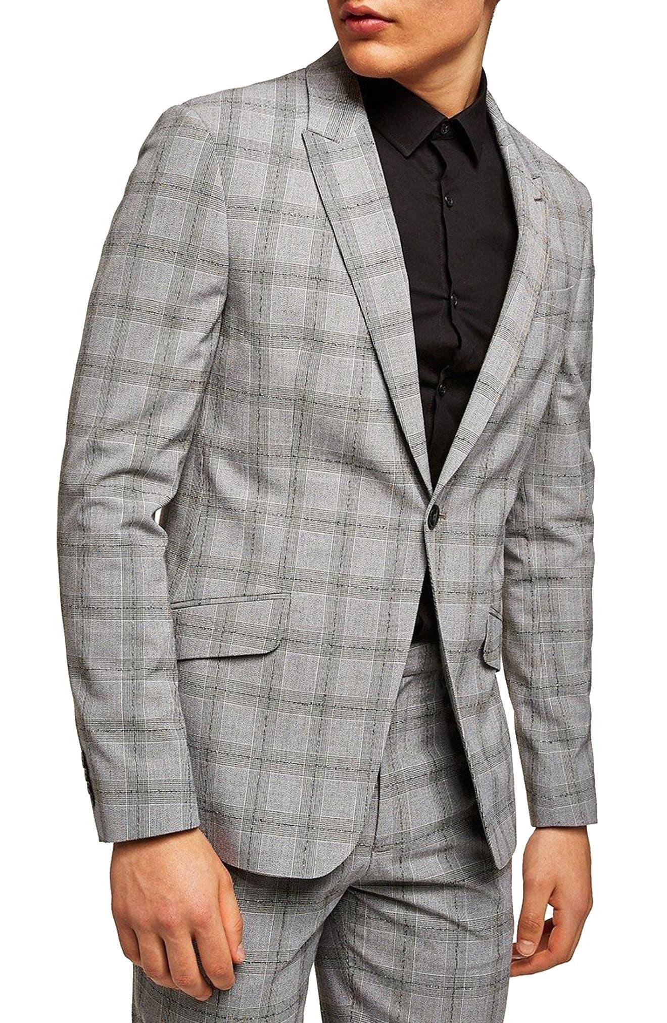Check Suit Jacket,                             Main thumbnail 1, color,                             Grey/ Black