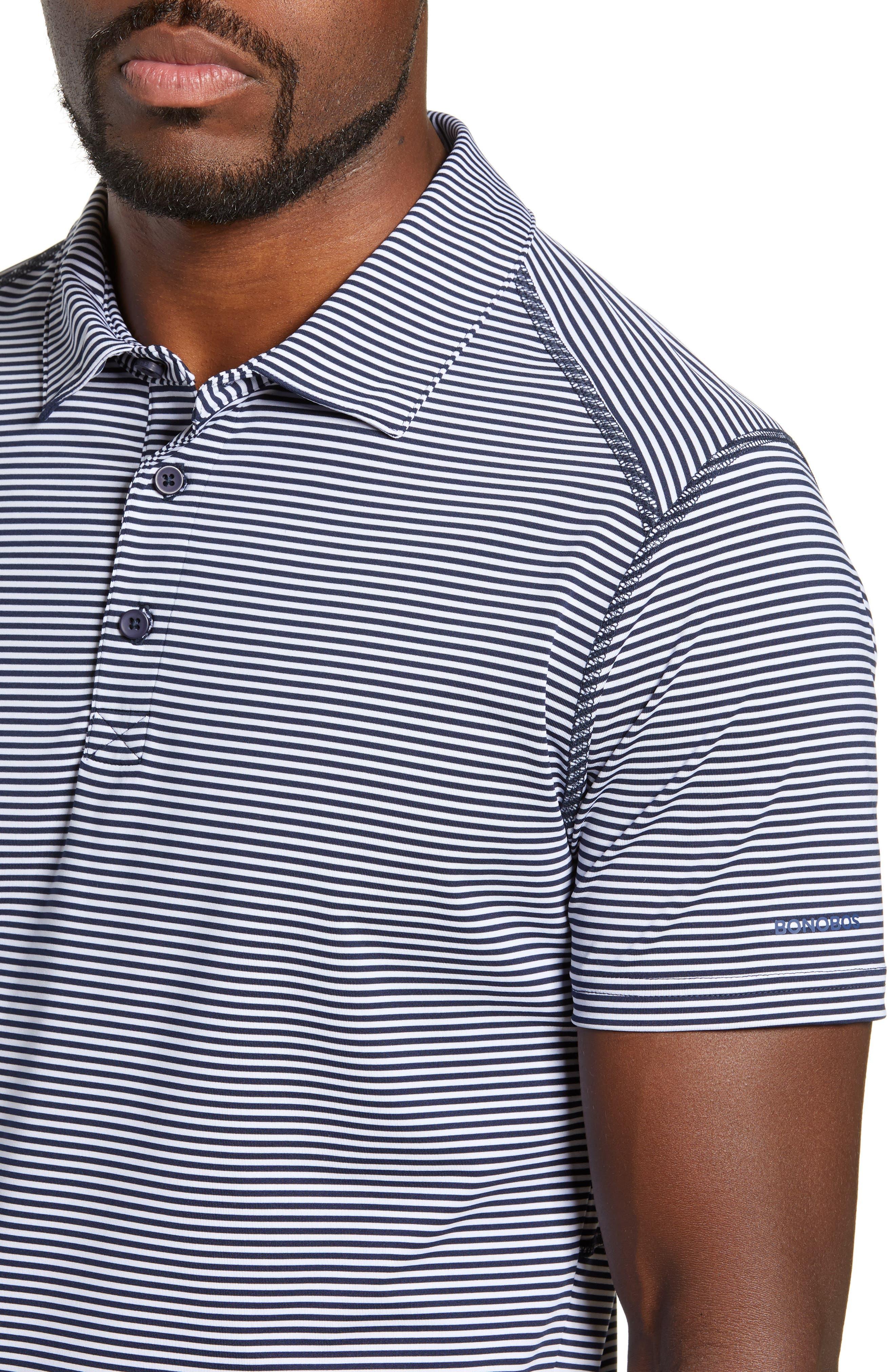 Flatiron Slim Fit Jacquard Jersey Polo,                             Alternate thumbnail 4, color,                             NAVY/ WHITE