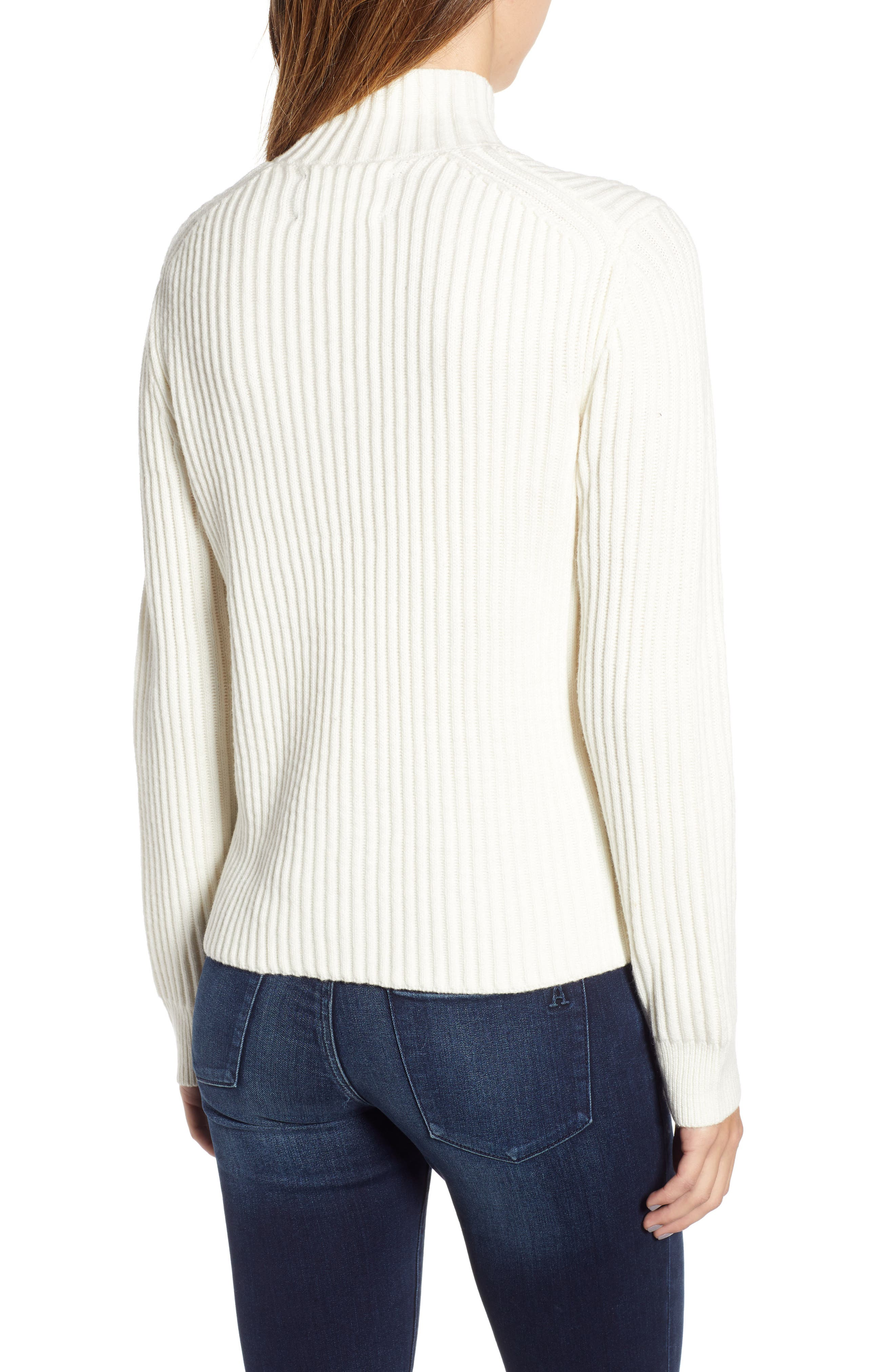 Half Zip Wool Blend Sweater,                             Alternate thumbnail 2, color,                             GREY