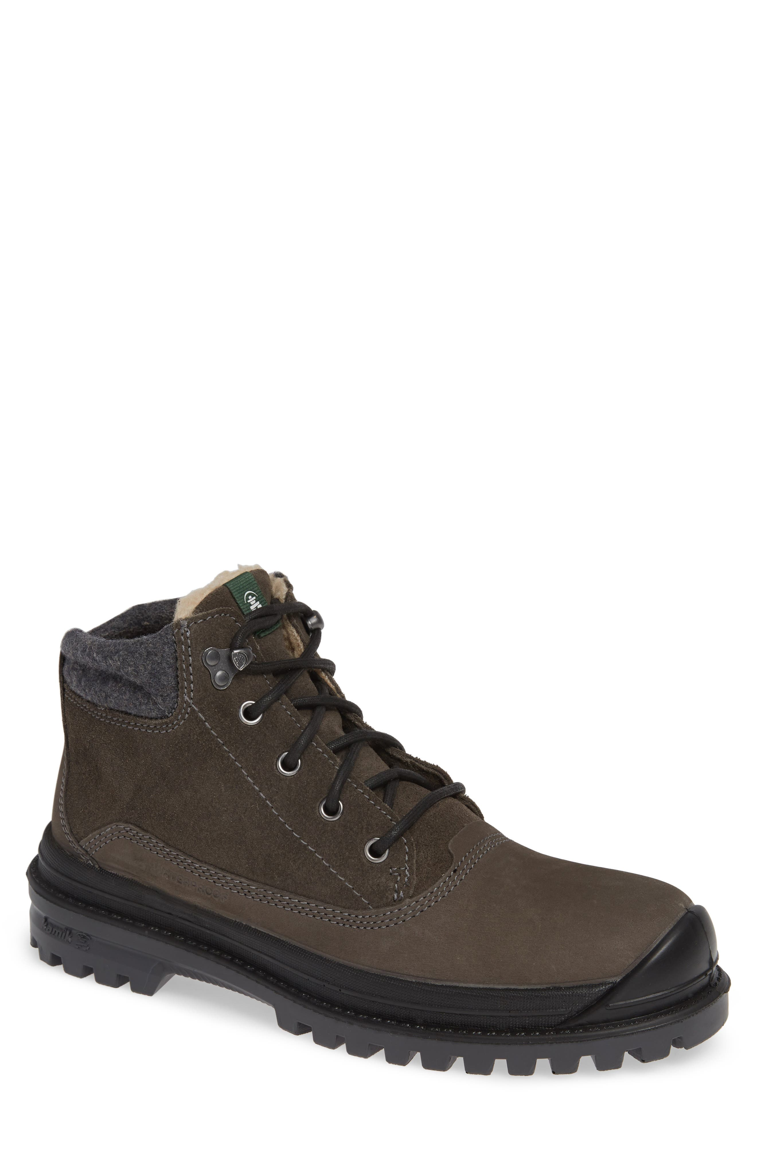 KAMIK Griffin Mid Waterproof Boot, Main, color, CHARCOAL LEATHER