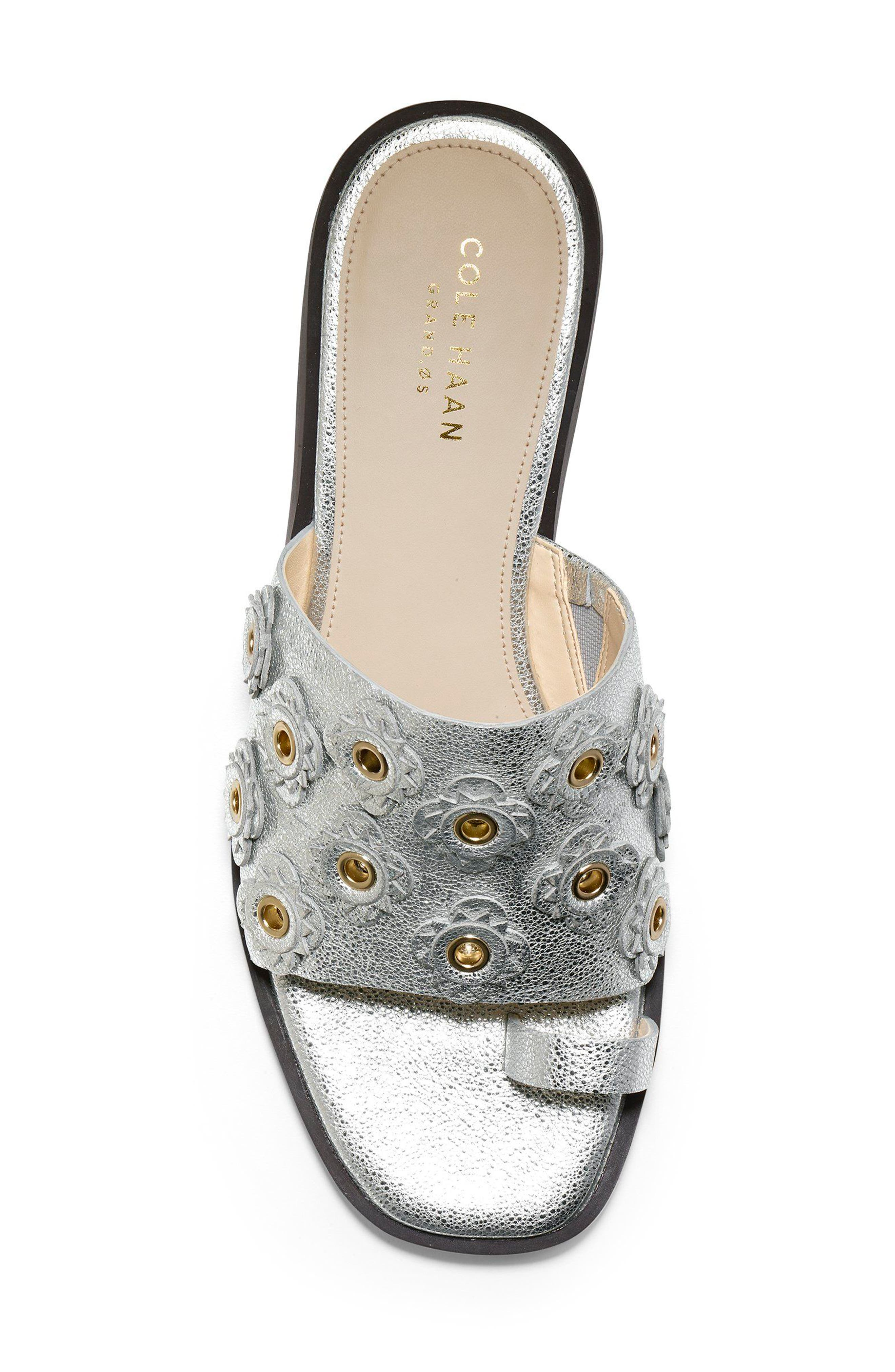 Carly Floral Sandal,                             Alternate thumbnail 5, color,                             SILVER METALLIC LEATHER