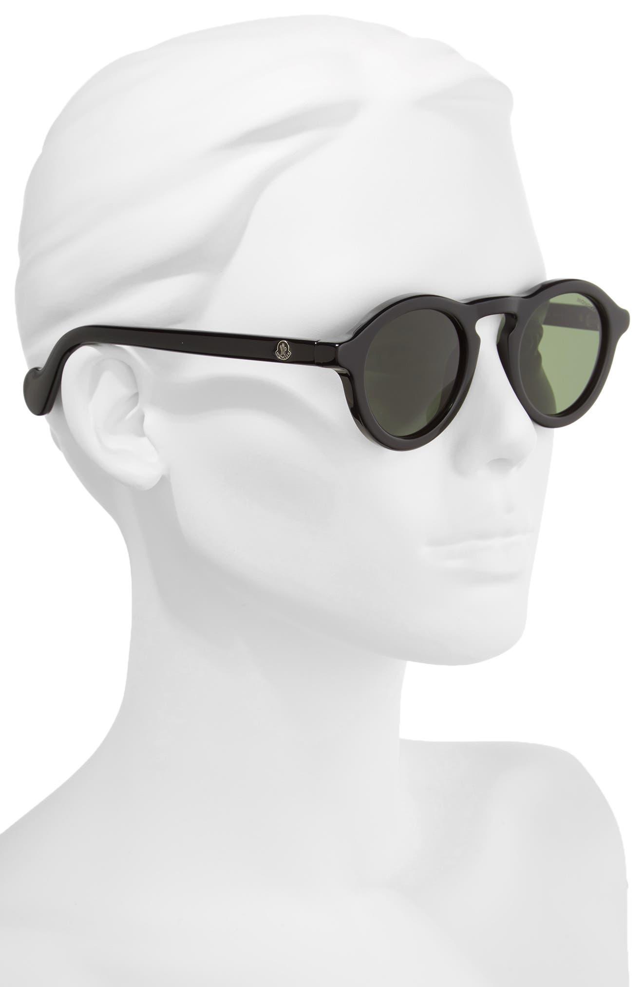46mm Round Sunglasses,                             Alternate thumbnail 2, color,                             BLACK/ VINTAGE GREEN