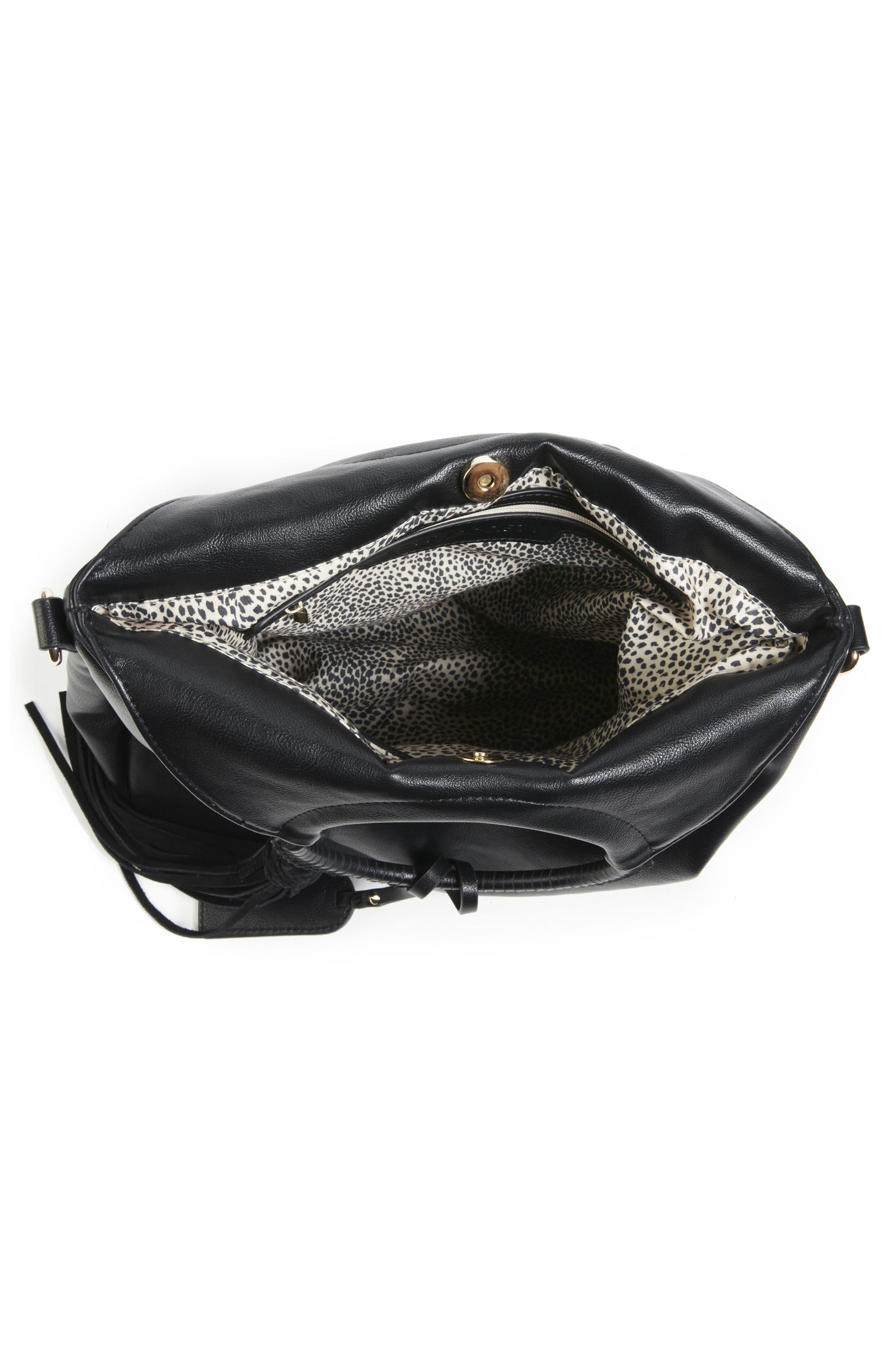 Faux Leather Bracelet Bag,                             Alternate thumbnail 3, color,                             001