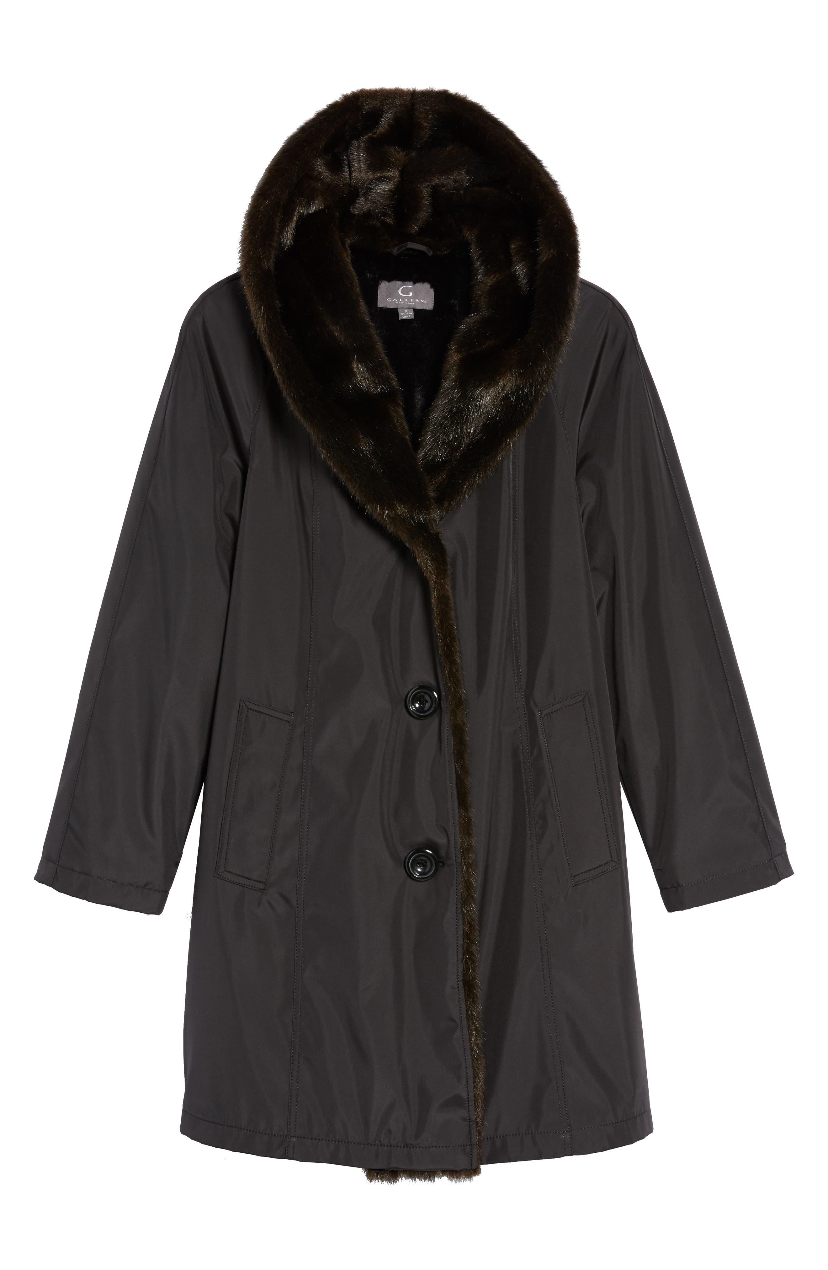 Storm Coat with Faux Fur Trim & Lining,                             Alternate thumbnail 5, color,                             001