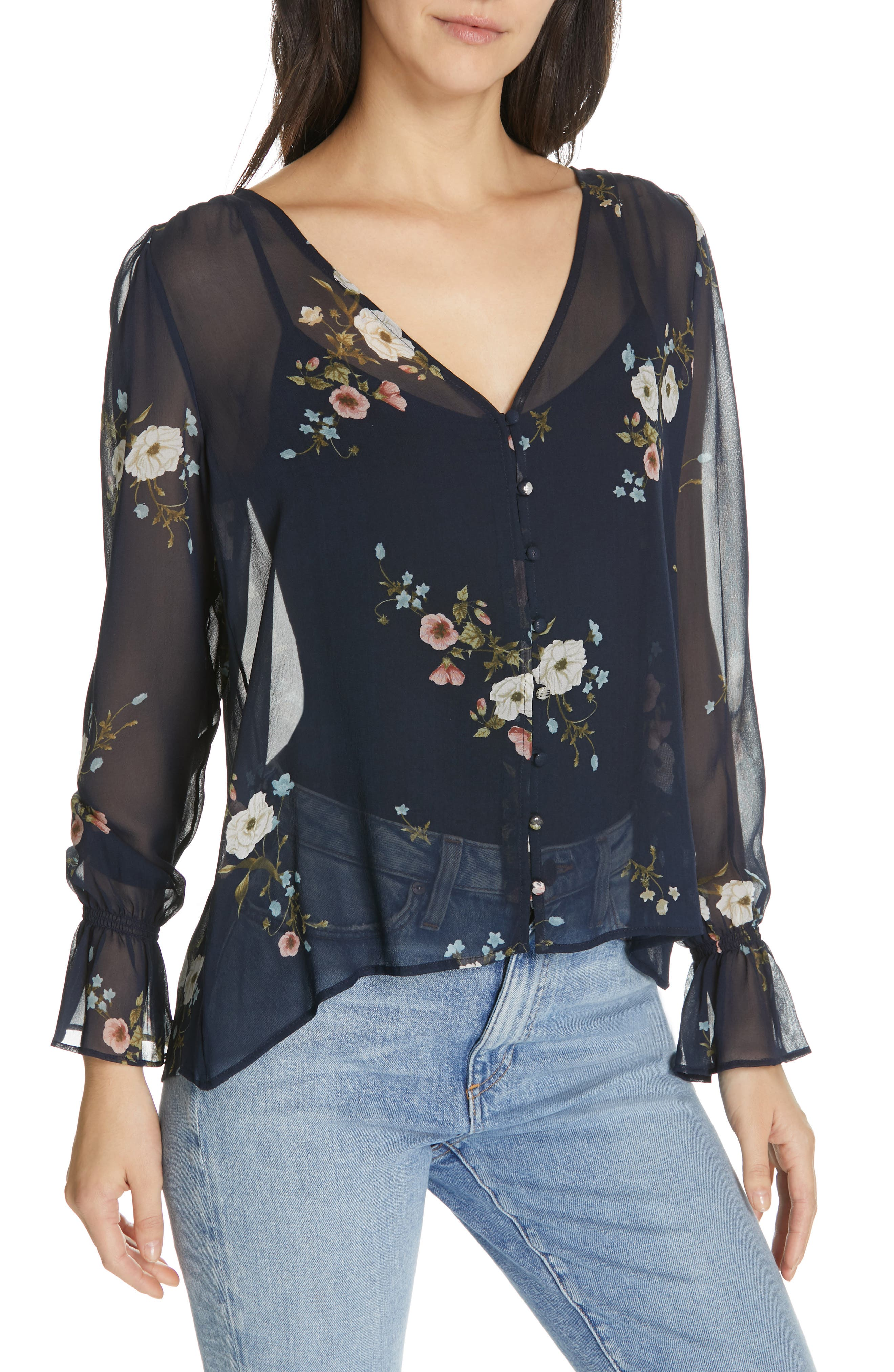 JOIE,                             Bolona Floral Silk Blouse,                             Alternate thumbnail 4, color,                             MIDNIGHT