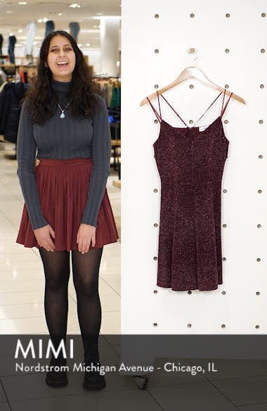 Glitter Knit Strappy Skater Dress, sales video thumbnail