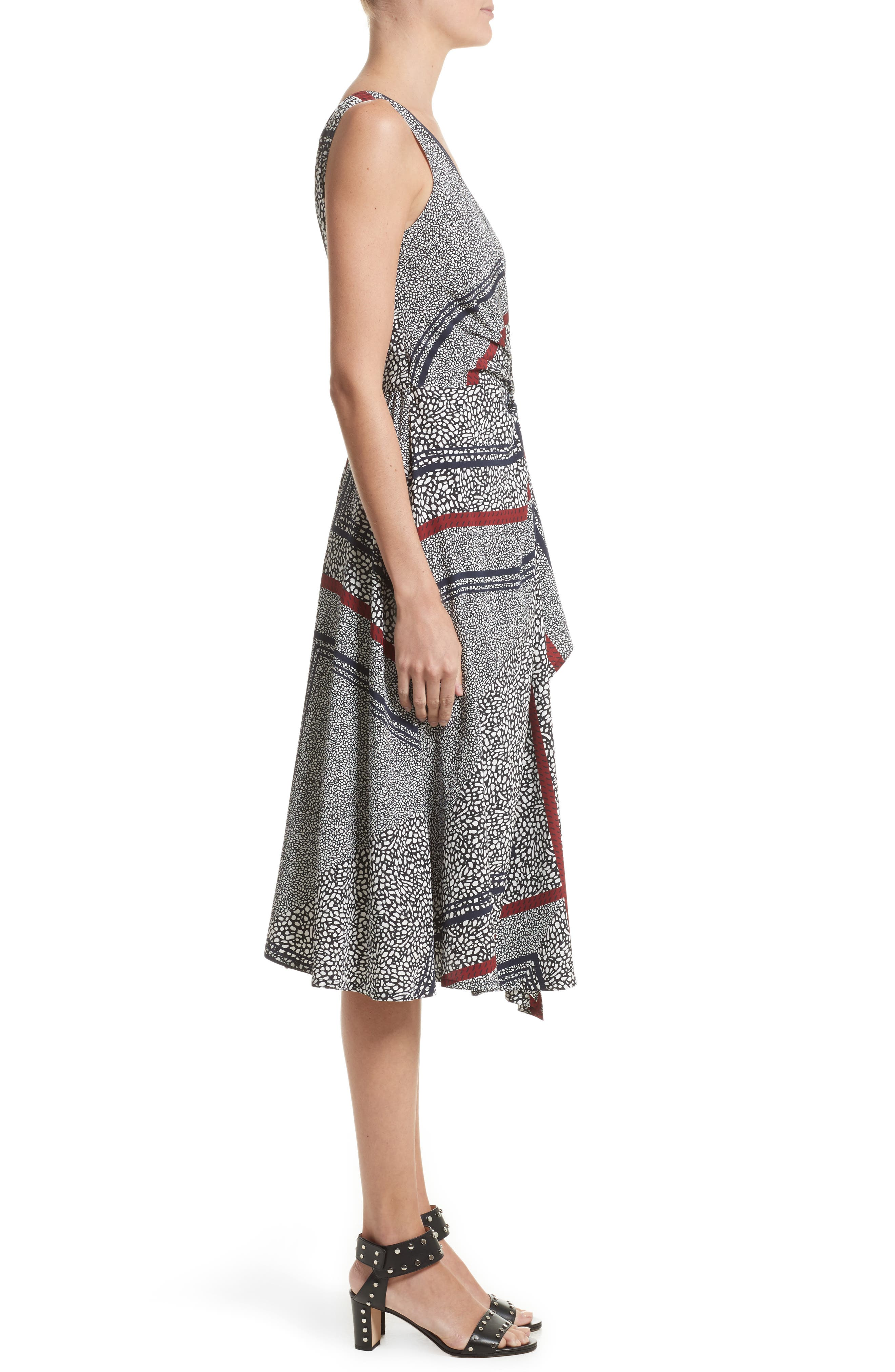 Print Pleated Silk Wrap Dress,                             Alternate thumbnail 3, color,                             001