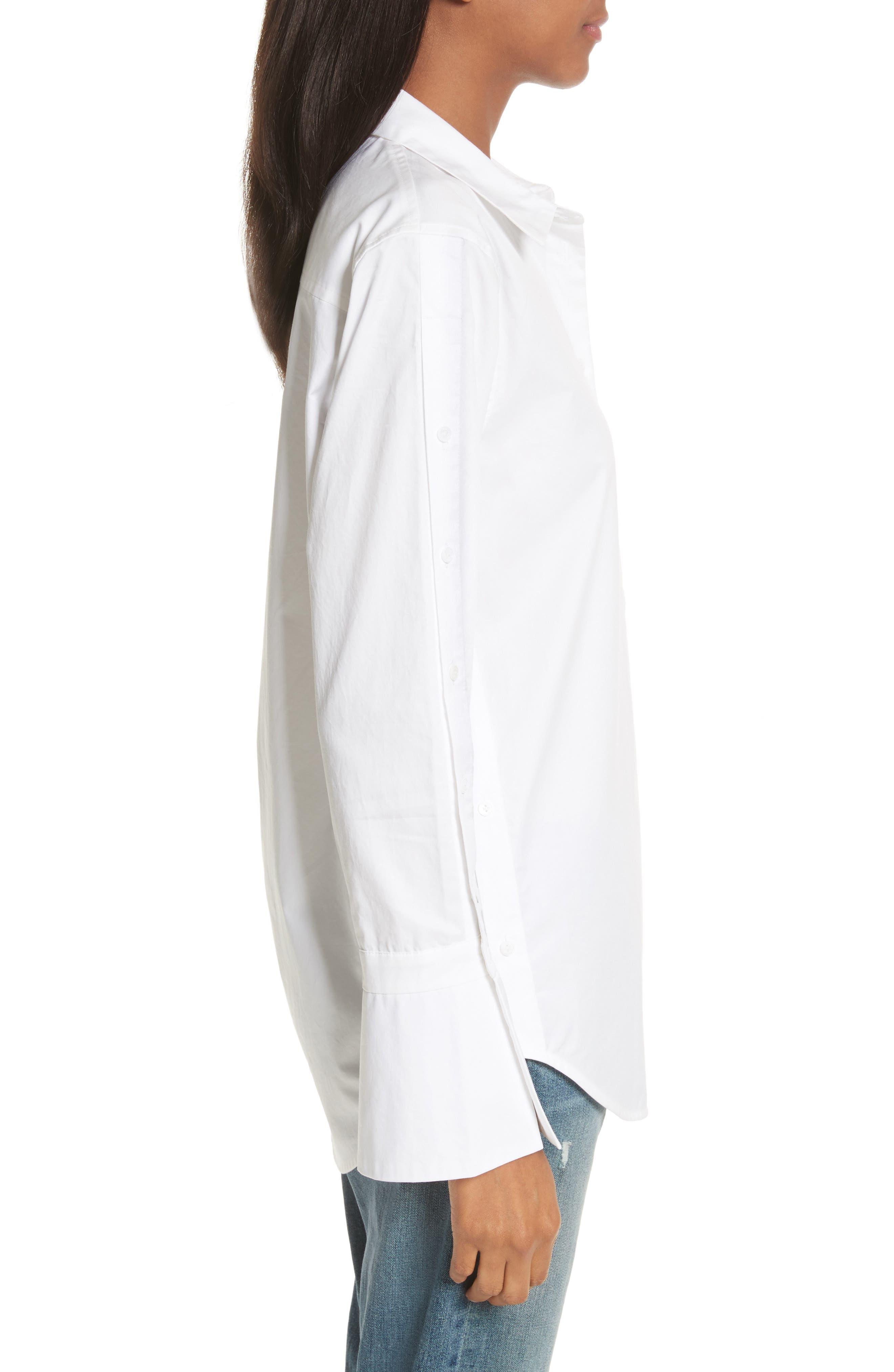 Rossi Button Detail Cotton Shirt,                             Alternate thumbnail 3, color,                             111