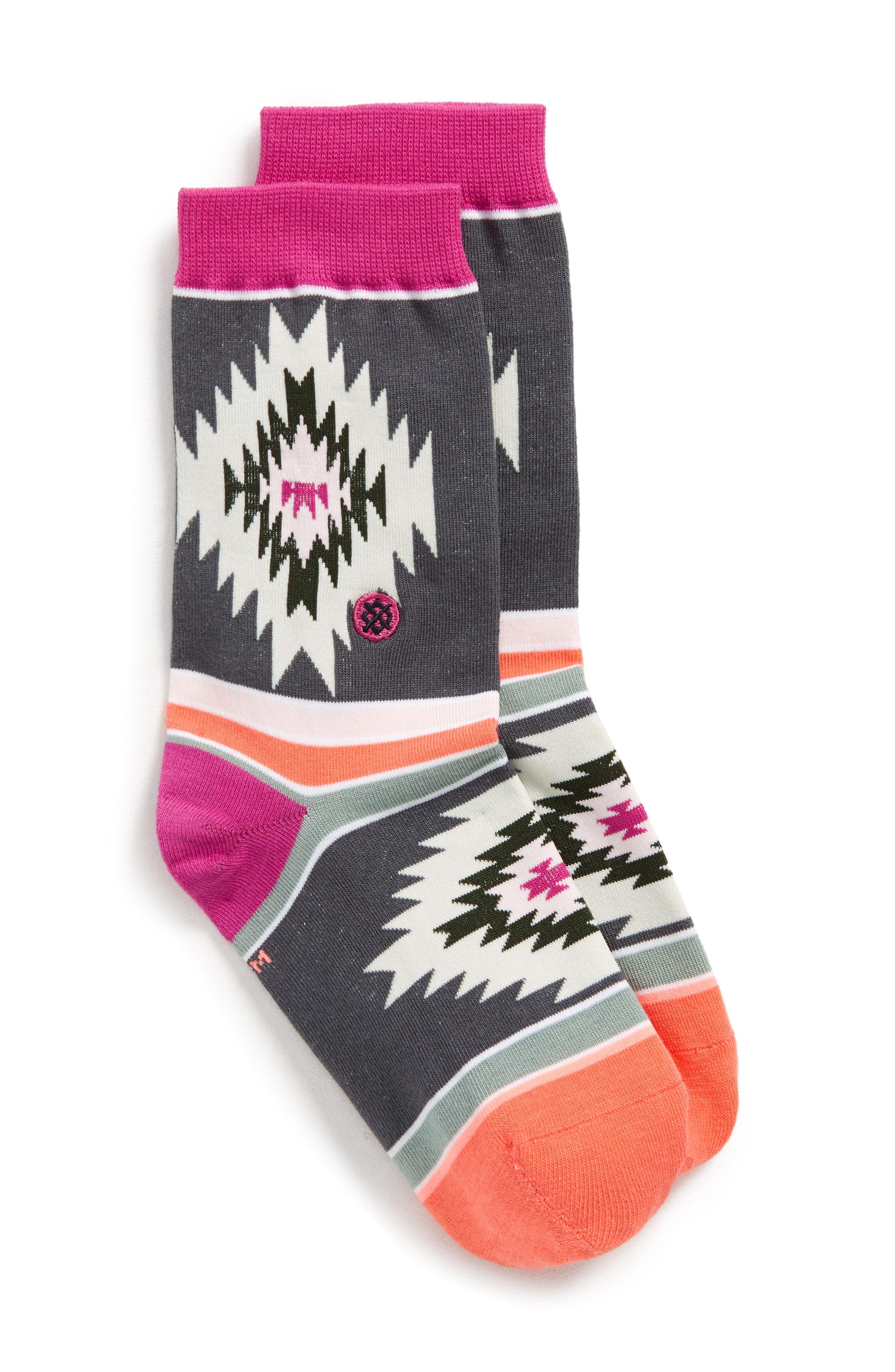 Kay Geo Patterned Crew Socks,                             Main thumbnail 1, color,