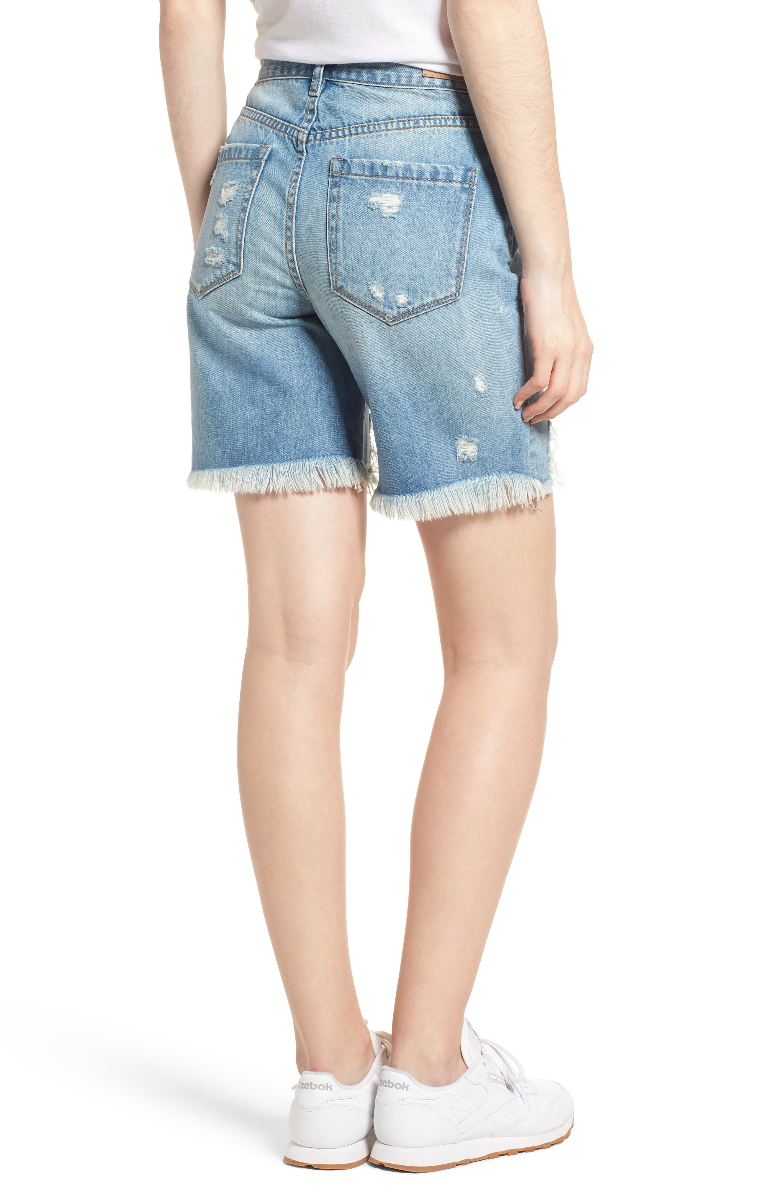 Ripped Denim Shorts,                             Alternate thumbnail 2, color,                             400