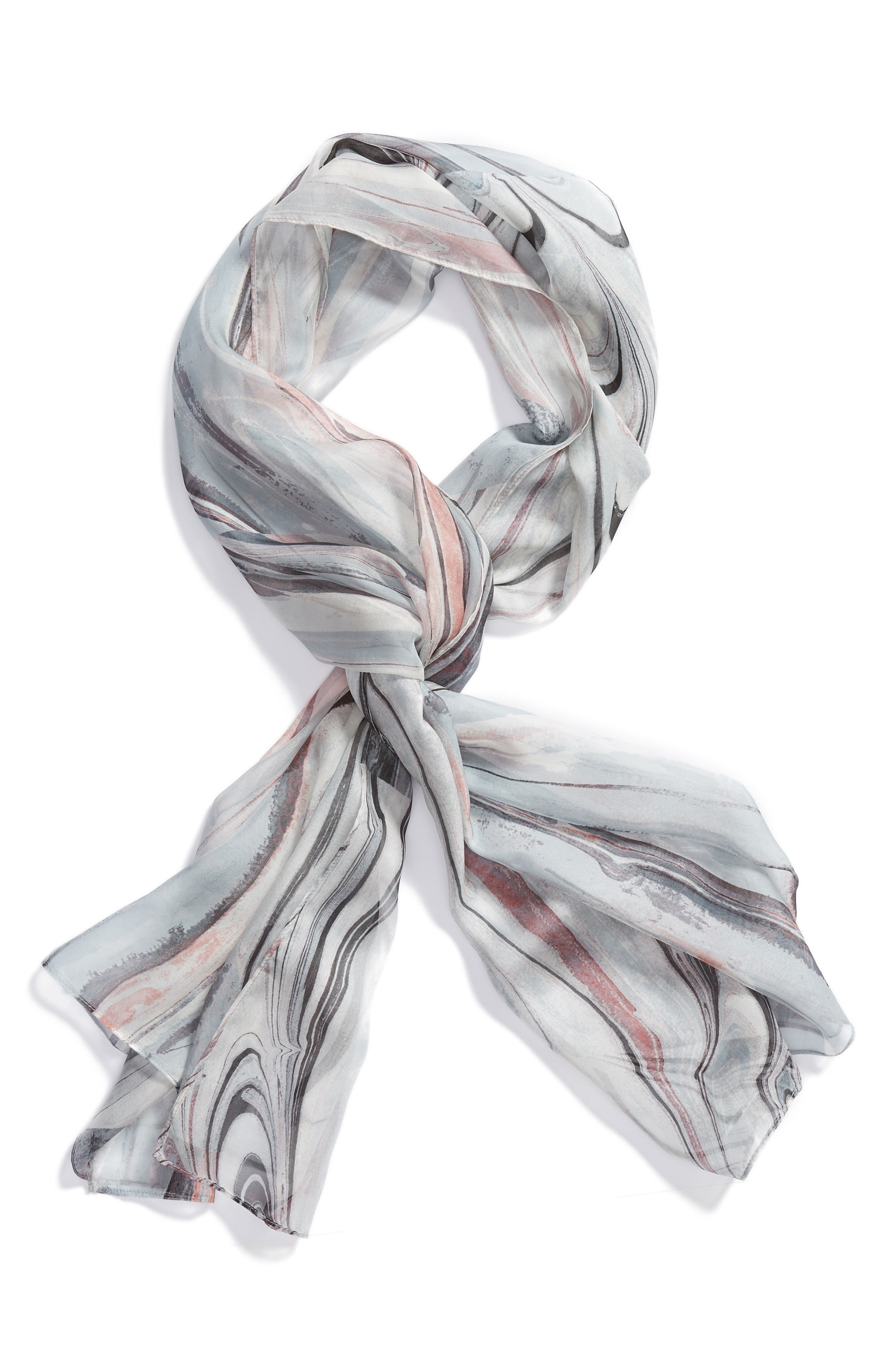 Silk Chiffon Oblong Scarf,                             Alternate thumbnail 2, color,                             GREY MARBLE MAGIC