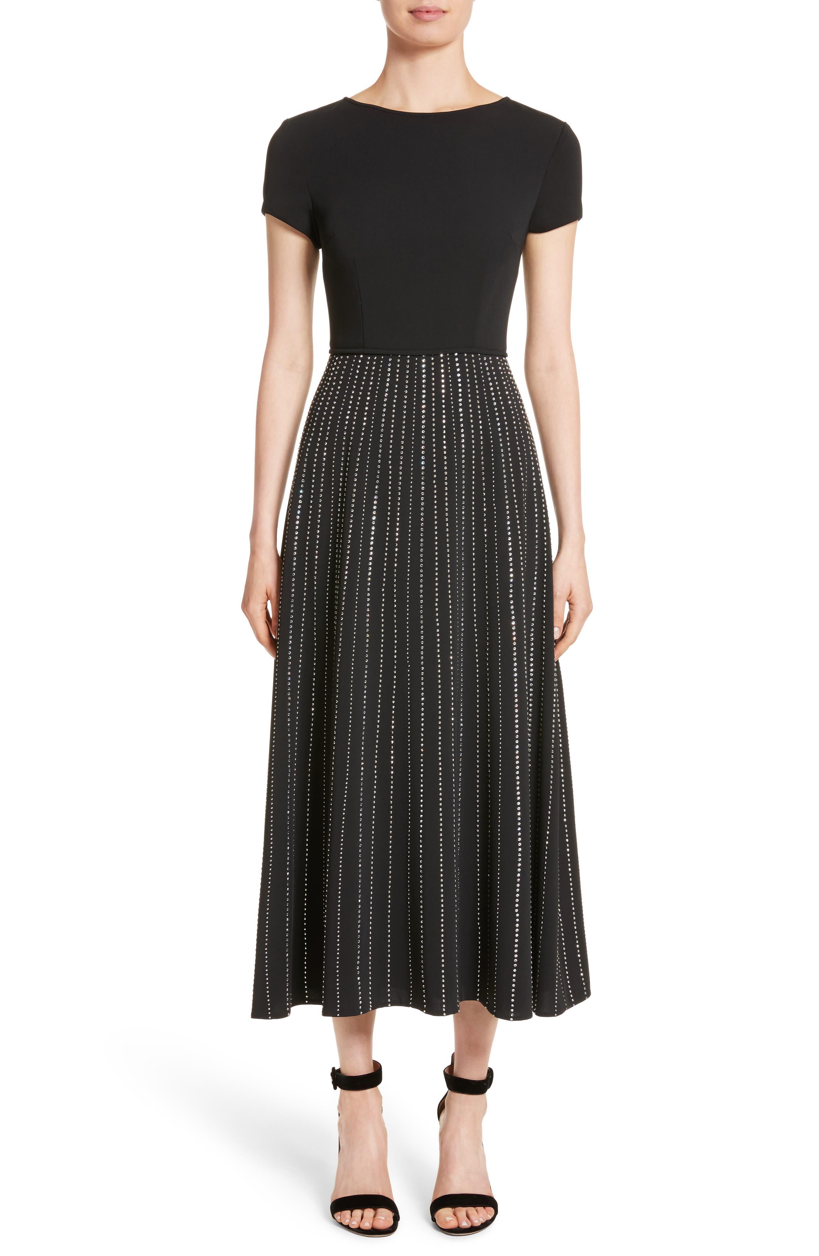 Embellished Stretch Cady Dress,                         Main,                         color,