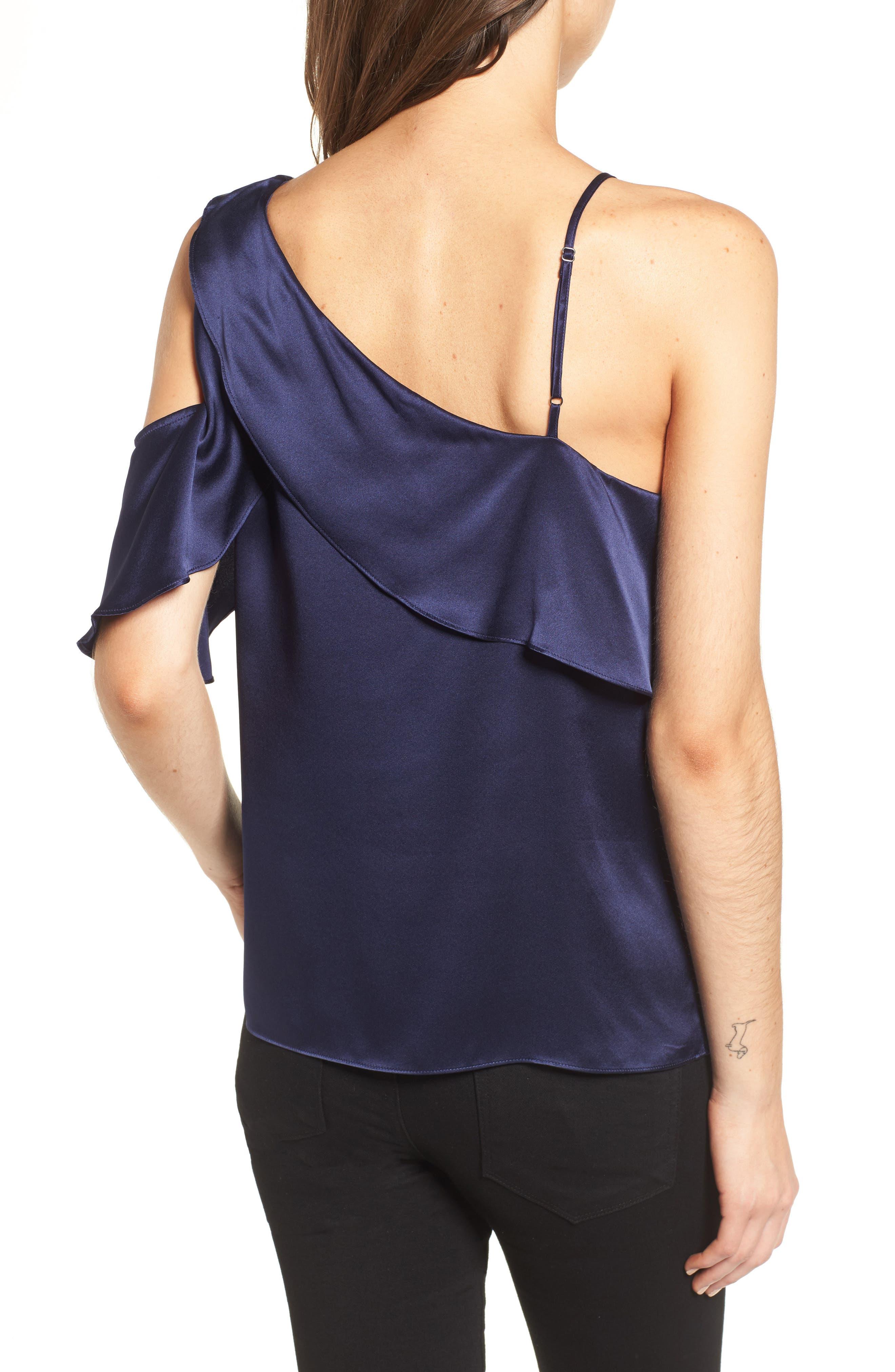 Connie Cold Shoulder Silk Top,                             Alternate thumbnail 2, color,                             418