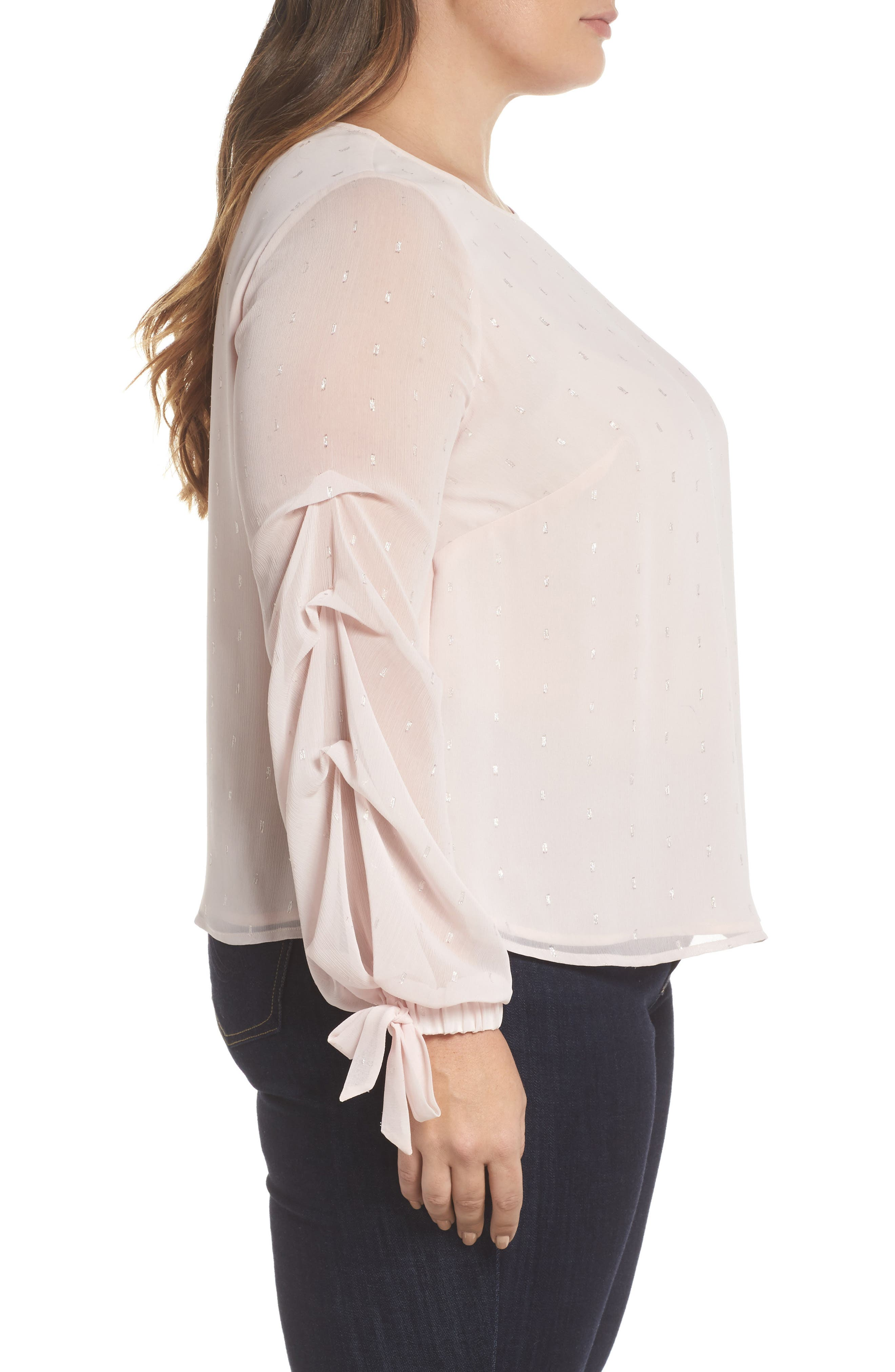 Tiered Tie Cuff Chiffon Blouse,                             Alternate thumbnail 3, color,                             PINK MIST