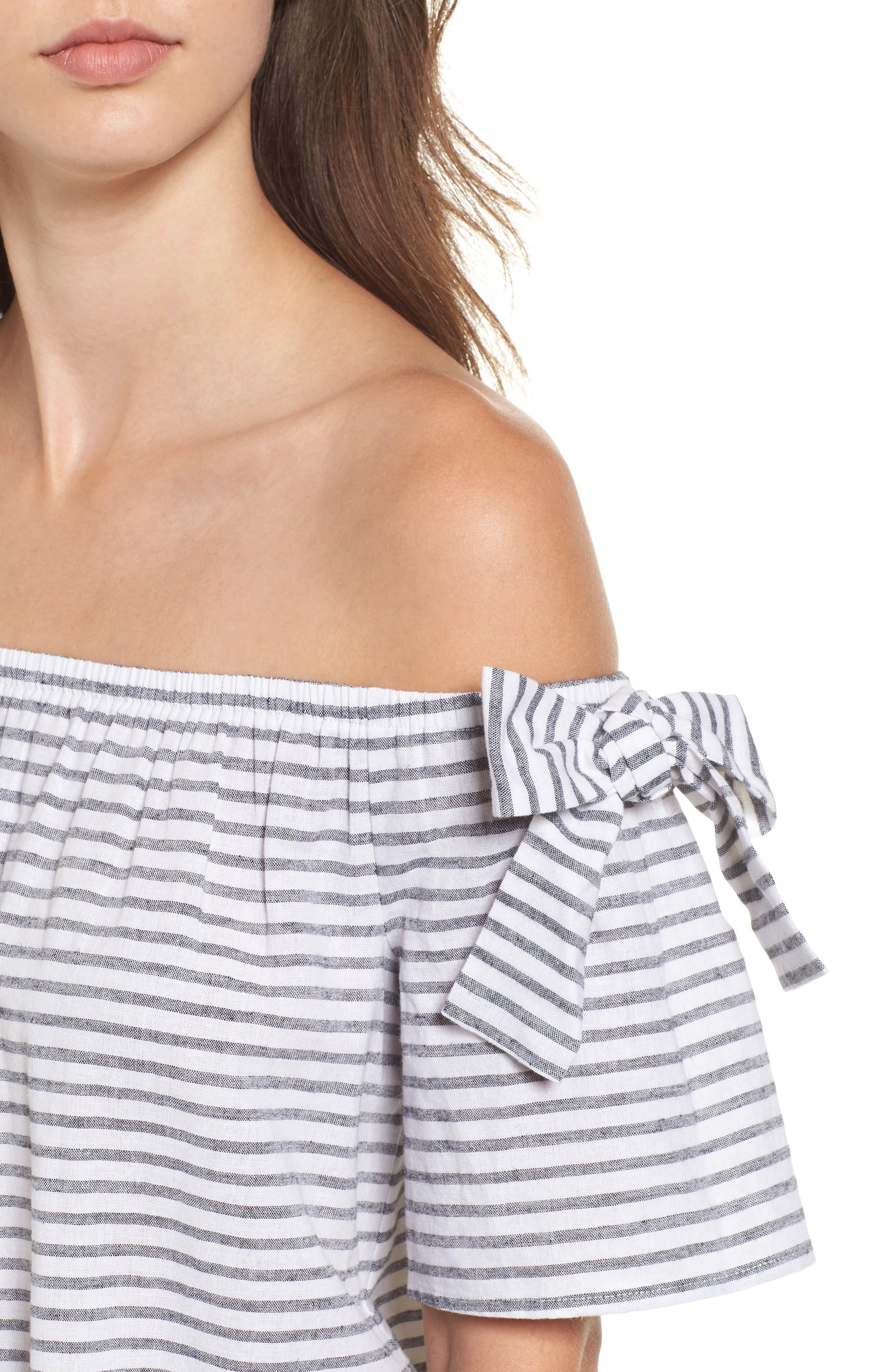 Stripe Cotton & Linen Off the Shoulder Top,                             Alternate thumbnail 4, color,                             001
