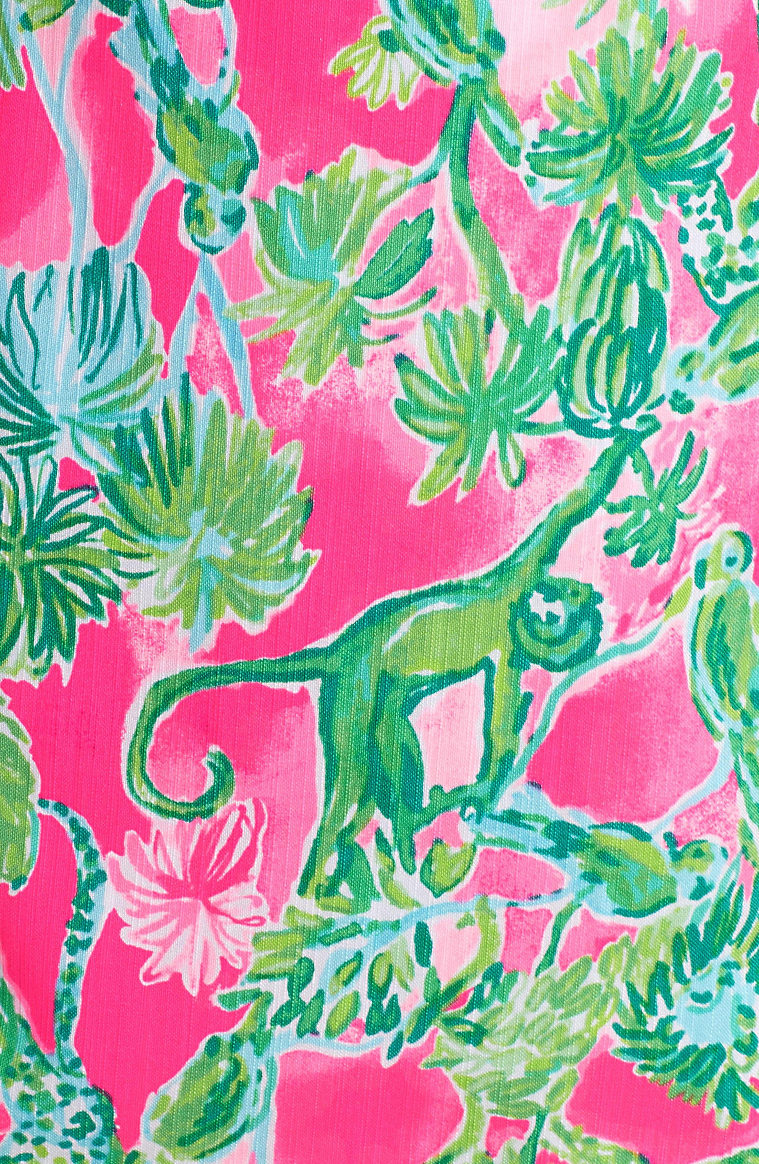 Gabby Tropical Print Dress,                             Alternate thumbnail 7, color,                             RAZ BERRY CATTY SHACK