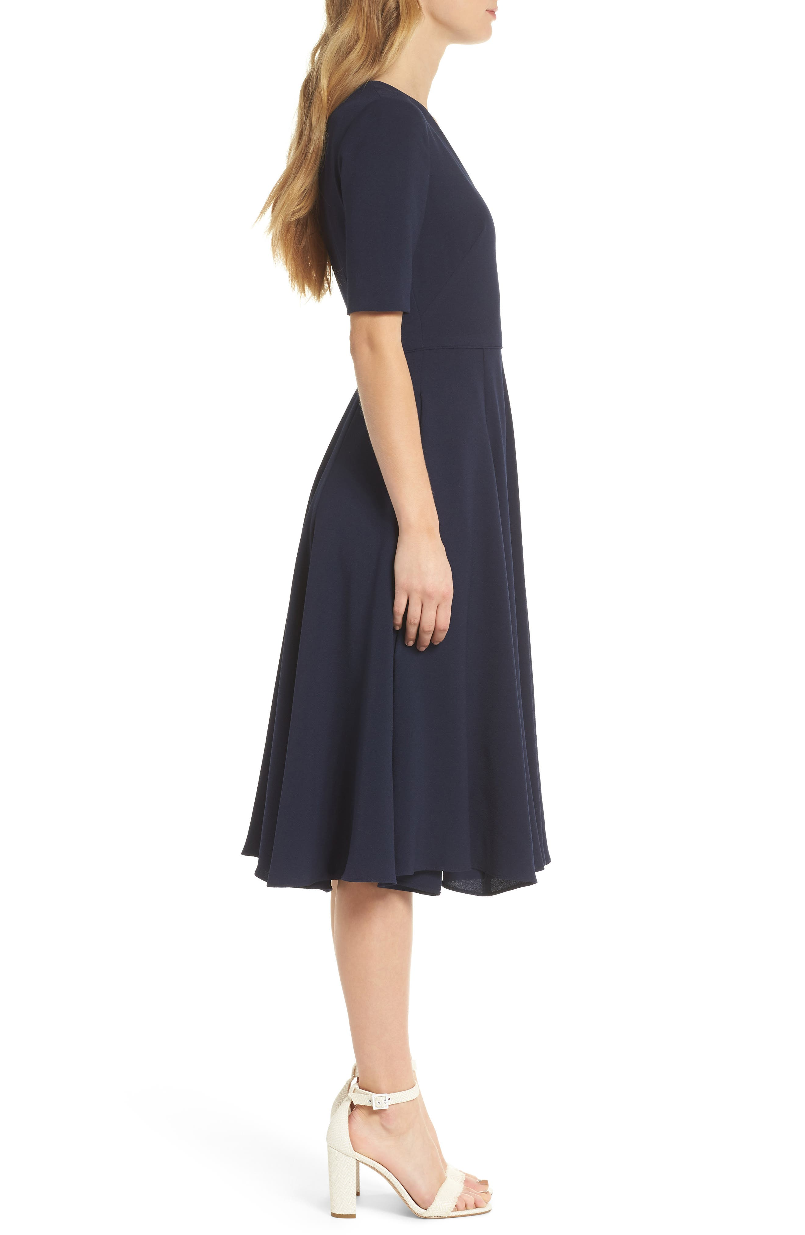 Edith City Crepe Fit & Flare Dress,                             Alternate thumbnail 3, color,                             NAVY