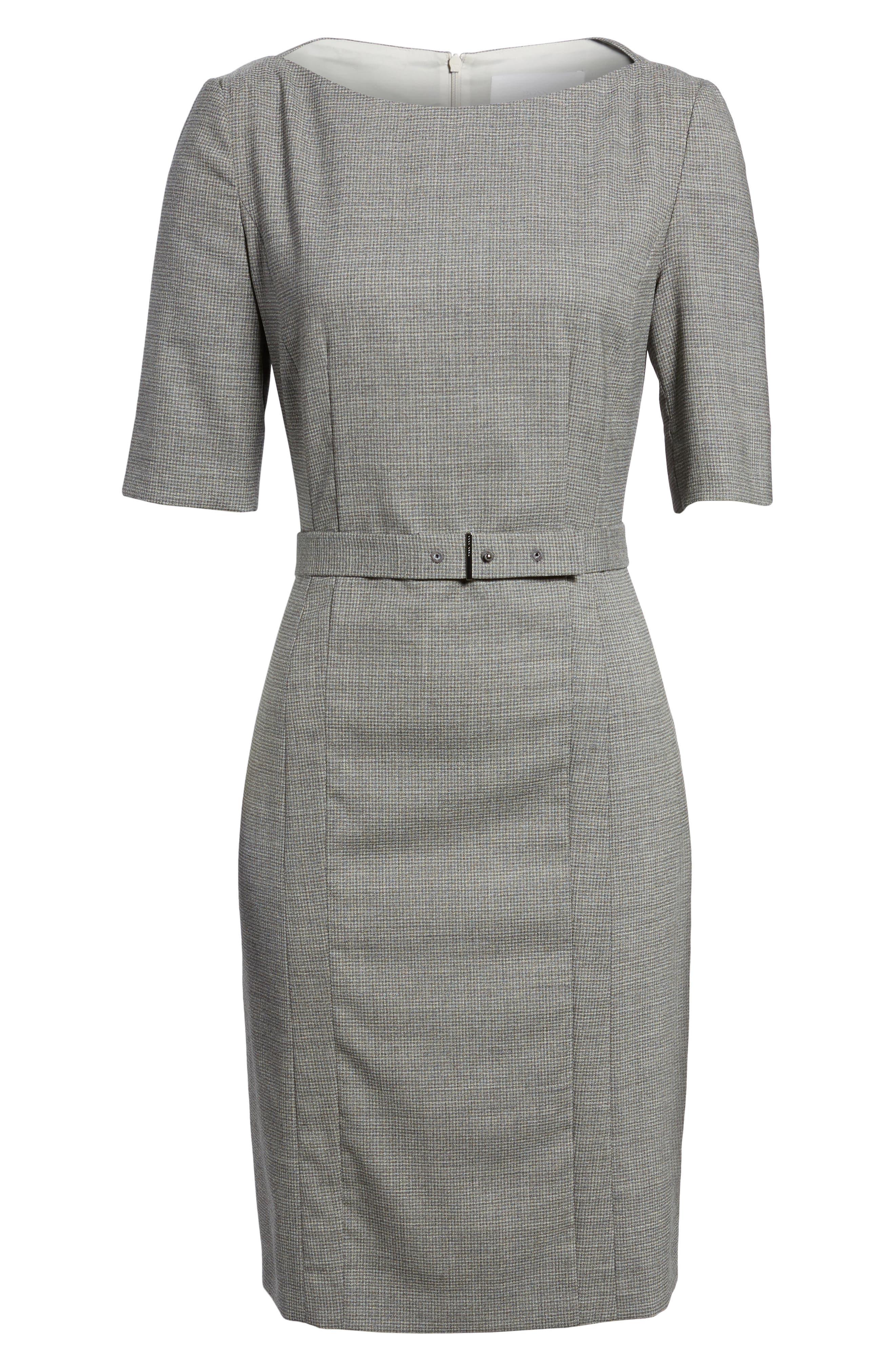 Dewisa Check Wool Sheath Dress,                             Alternate thumbnail 6, color,