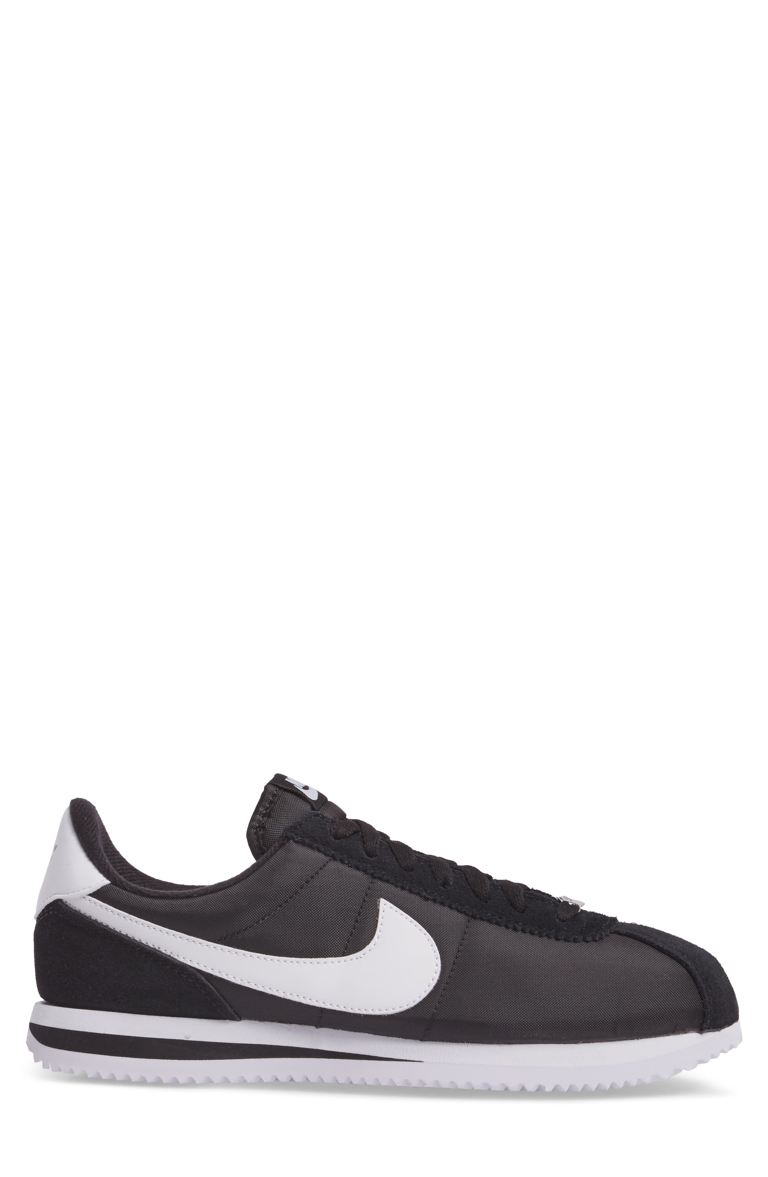 Cortez Basic Nylon Sneaker,                             Alternate thumbnail 3, color,                             BLACK/WHITE/METALLIC SILVER
