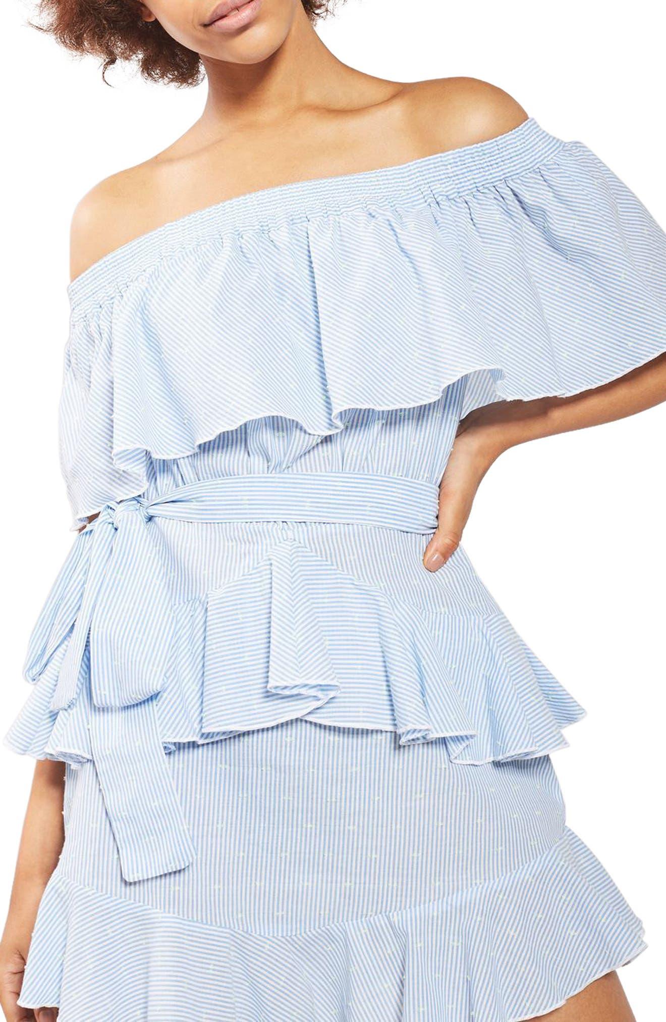 TOPSHOP Bardot Ruffle Stripe Dress, Main, color, 450