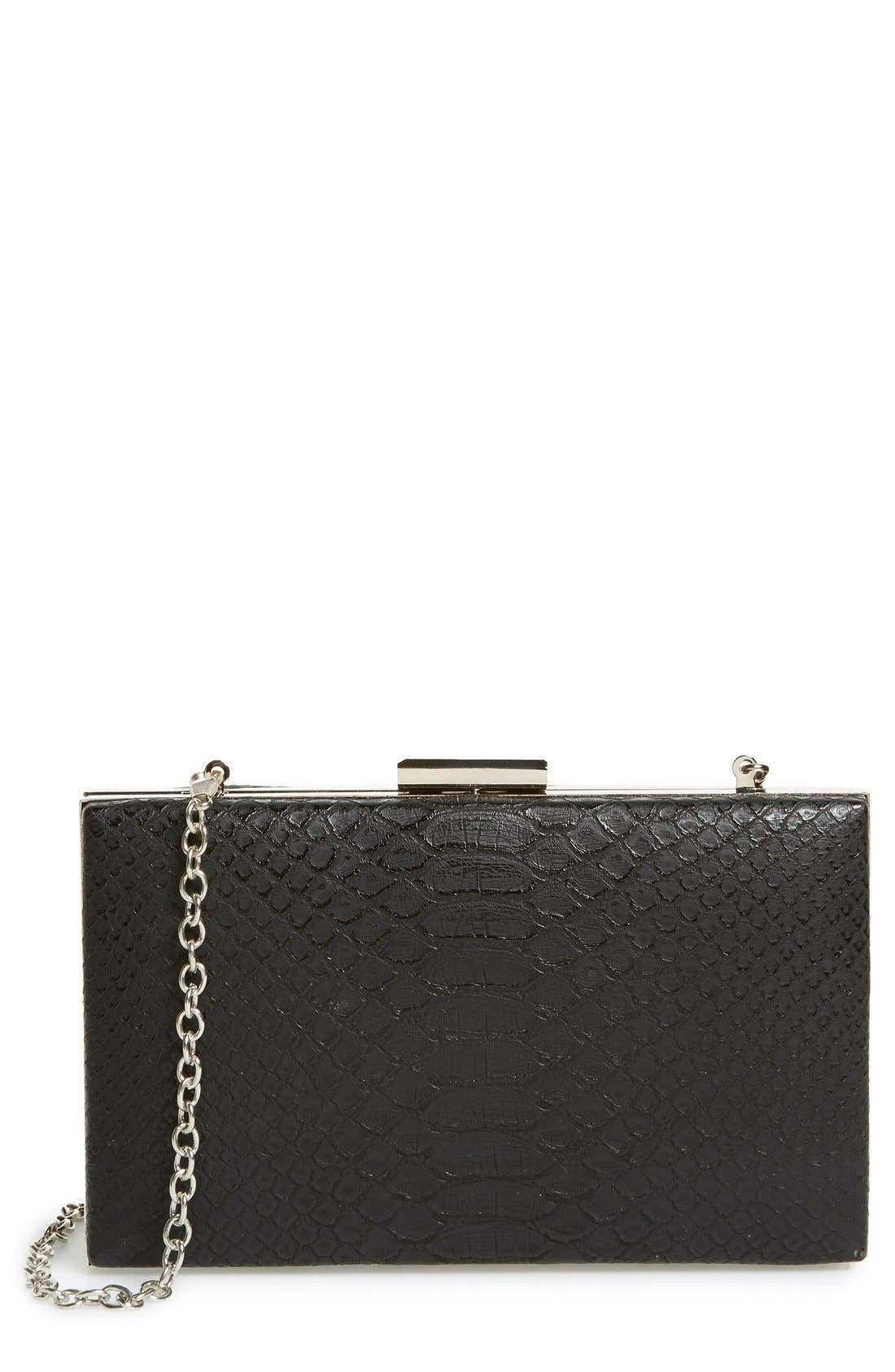 Snake Embossed Box Clutch,                             Main thumbnail 1, color,                             001