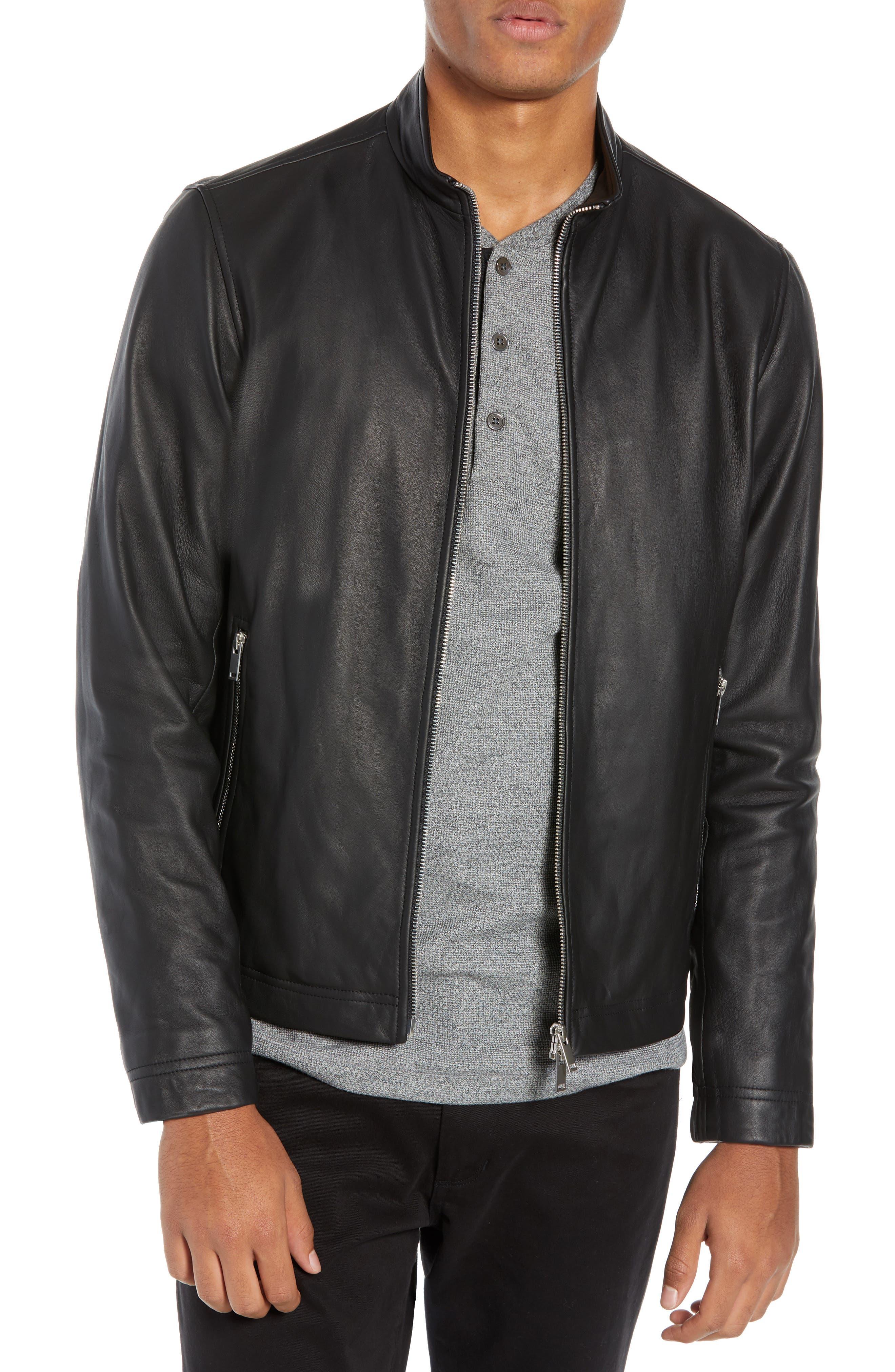 Morvek L.Burgos Trim Fit Leather Jacket,                             Main thumbnail 1, color,                             BLACK