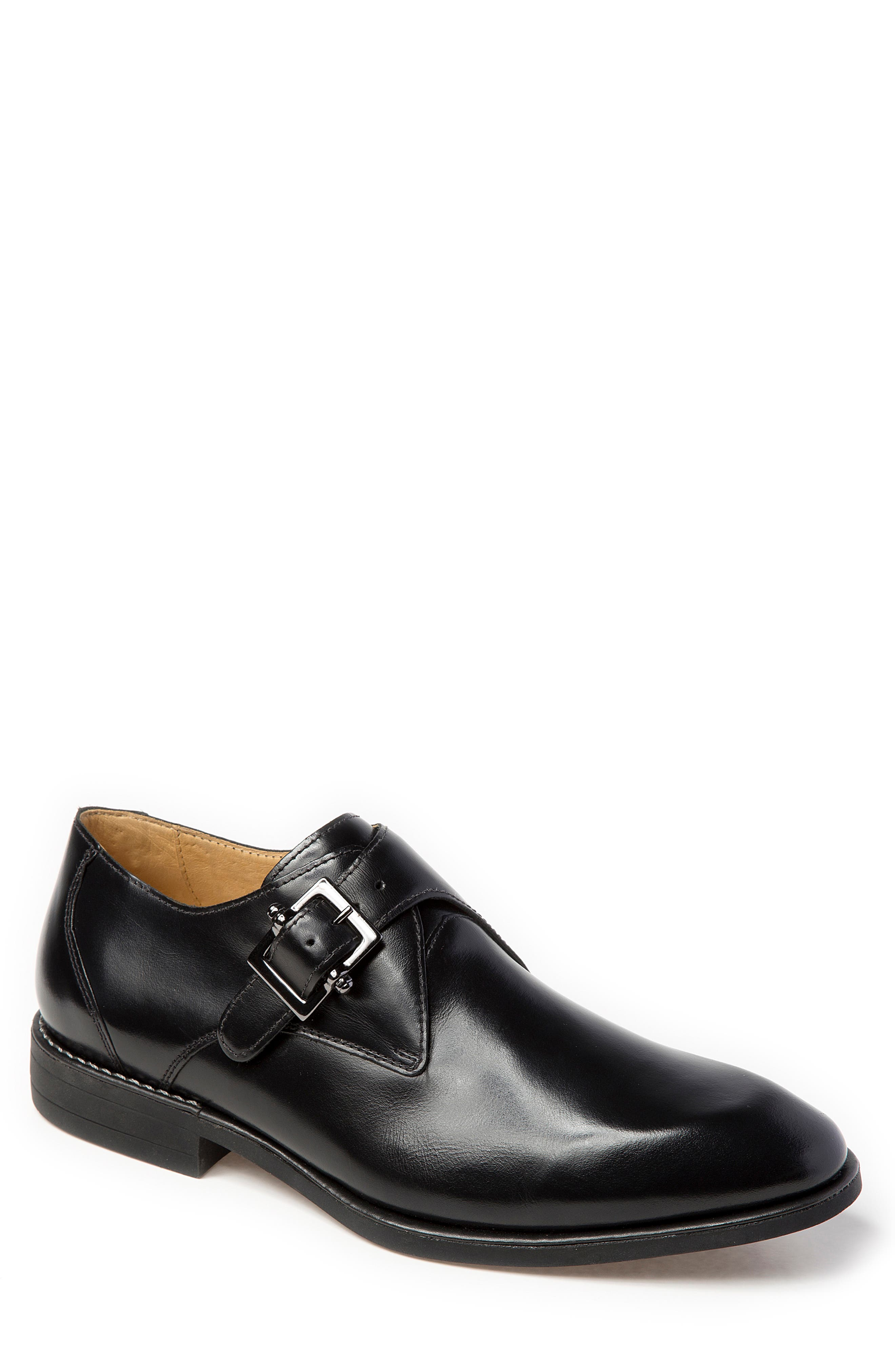 Wendell Single Buckle Monk Shoe,                         Main,                         color, BLACK LEATHER