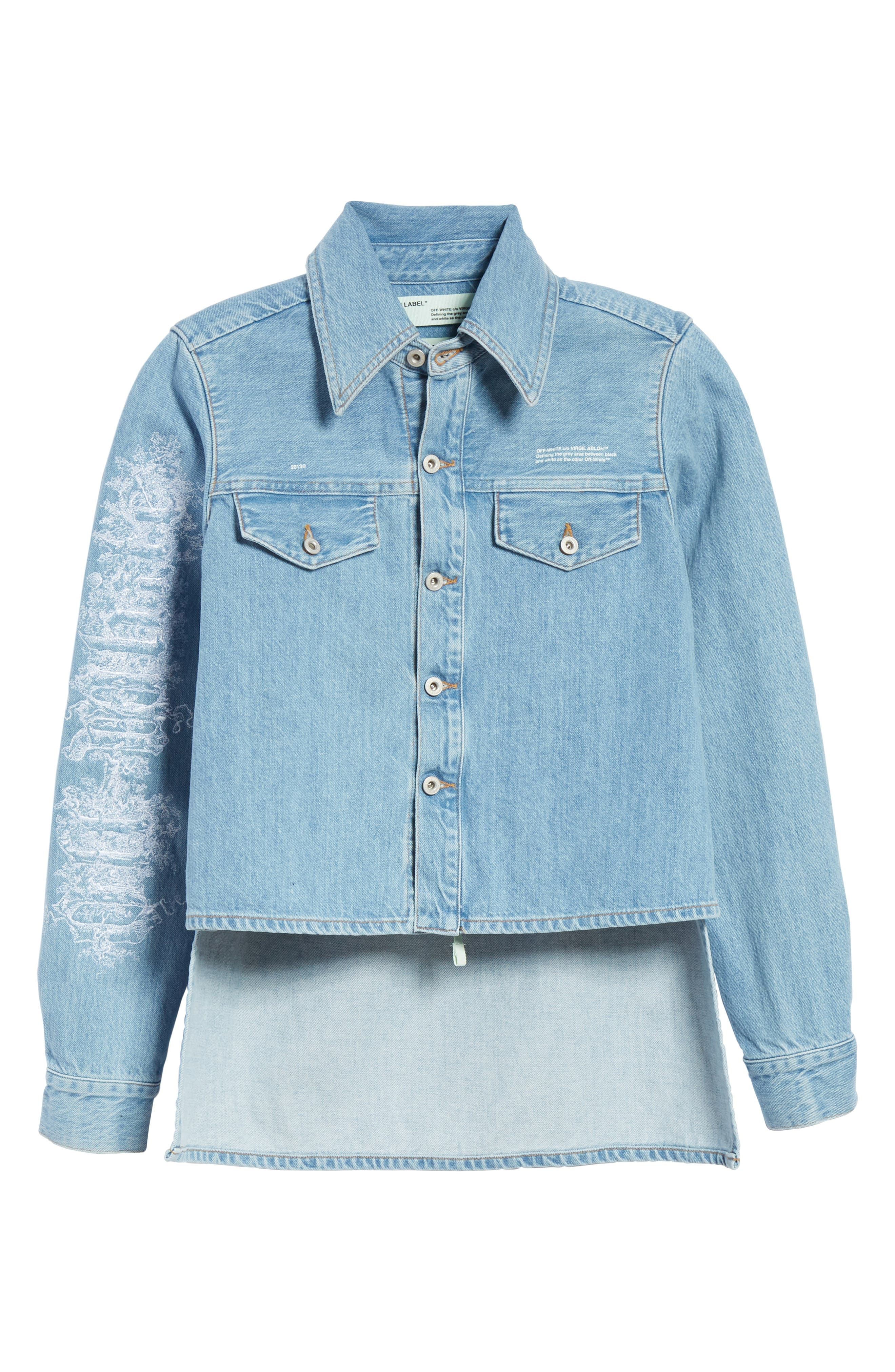 Crop Front Denim Shirt,                             Alternate thumbnail 6, color,                             400