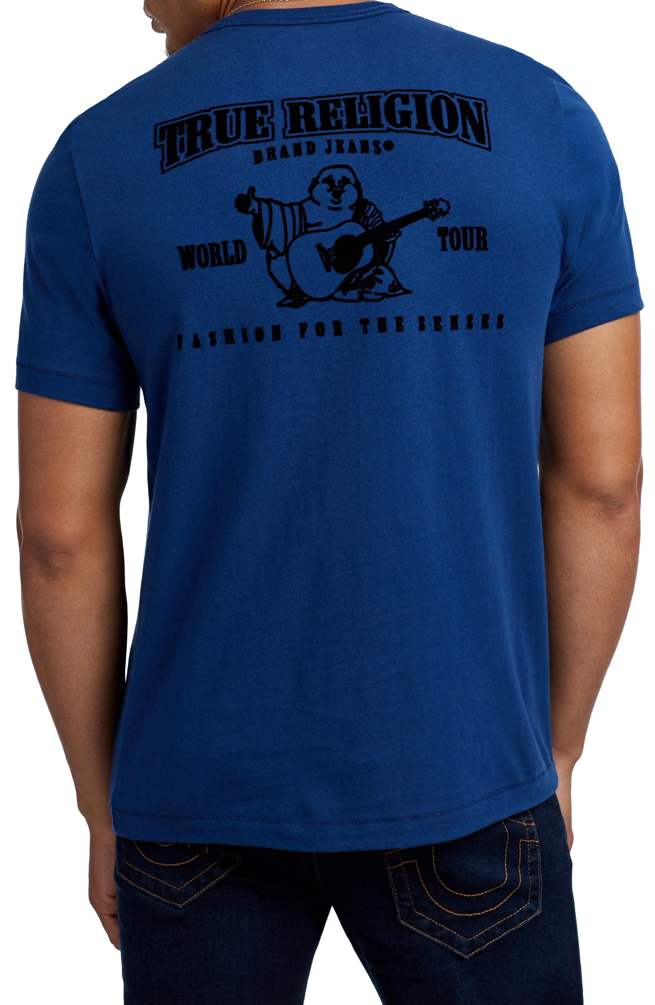 True Religion Staple Stitch Buddha T-Shirt,                             Alternate thumbnail 2, color,                             COBALT BLUE