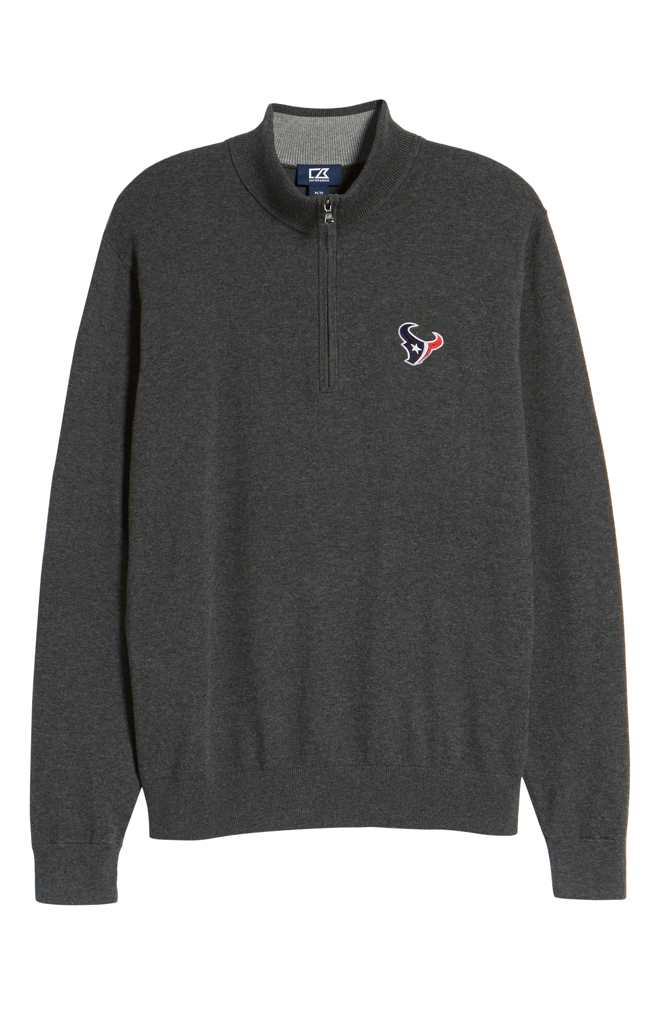 Houston Texans - Lakemont Regular Fit Quarter Zip Sweater,                             Alternate thumbnail 6, color,                             CHARCOAL HEATHER