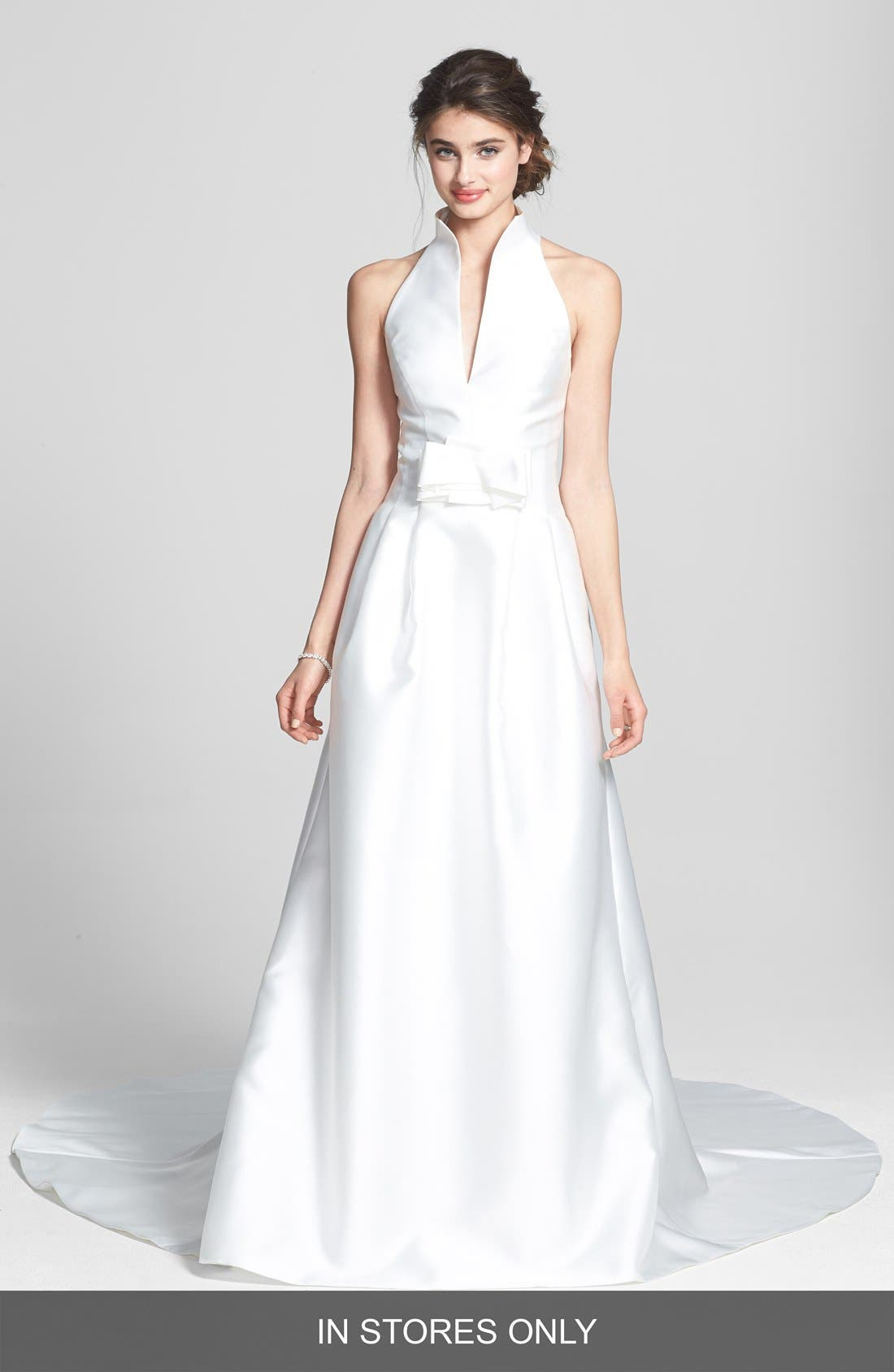 Martina Mikado Halter Dress,                         Main,                         color, IVORY
