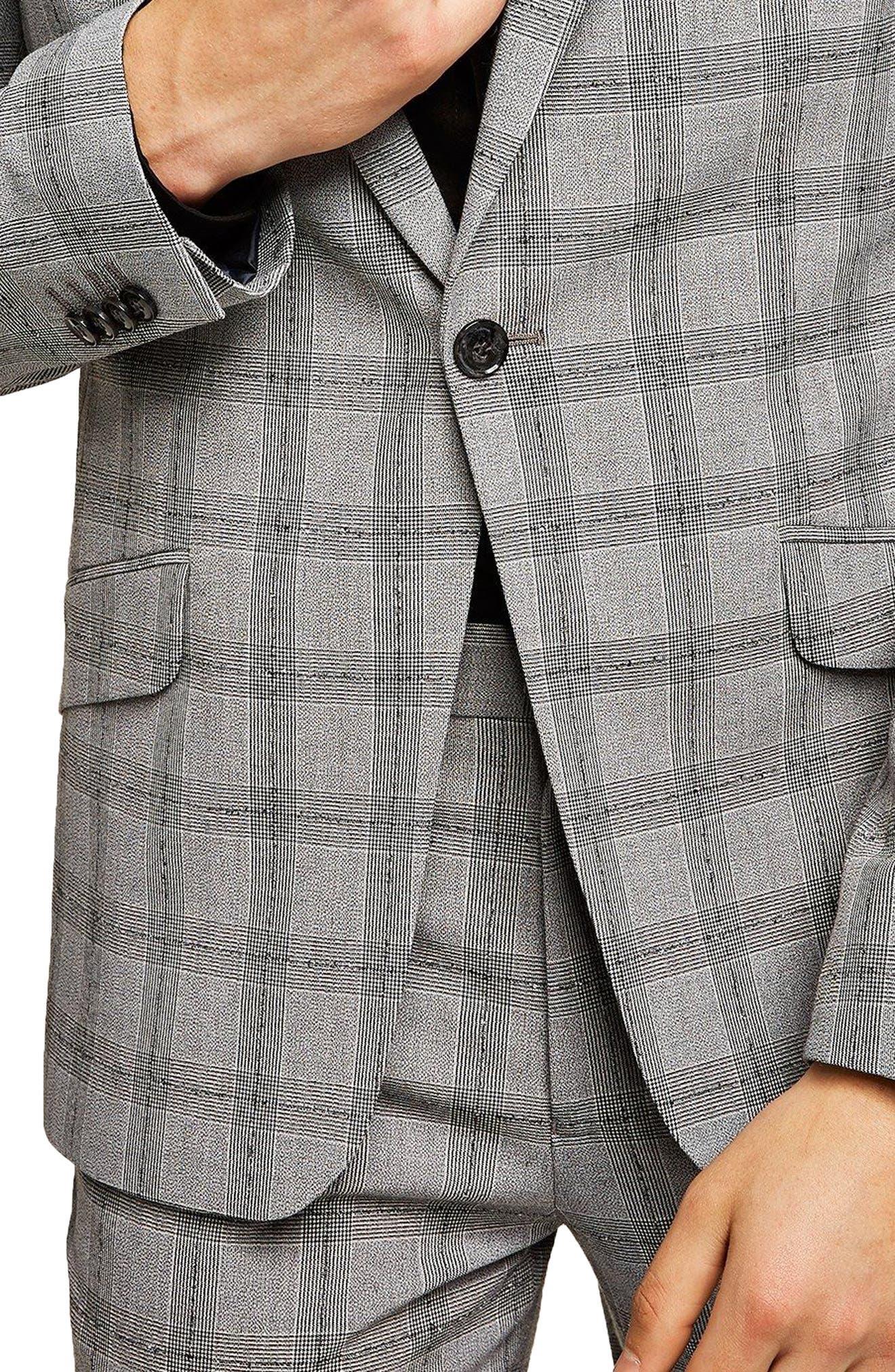 Check Suit Jacket,                             Alternate thumbnail 3, color,                             Grey/ Black