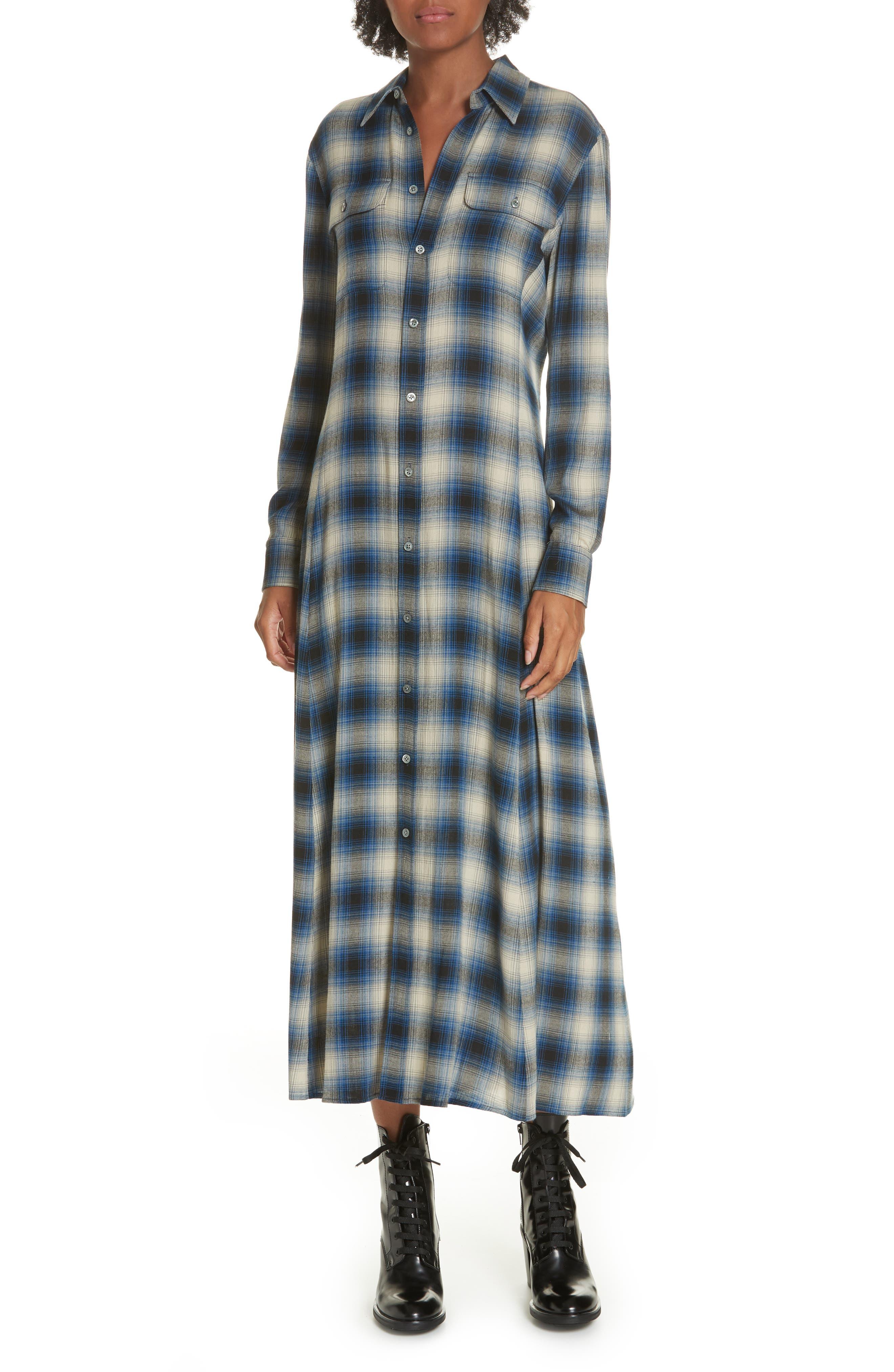 Plaid Midi Shirtdress,                             Main thumbnail 1, color,                             400