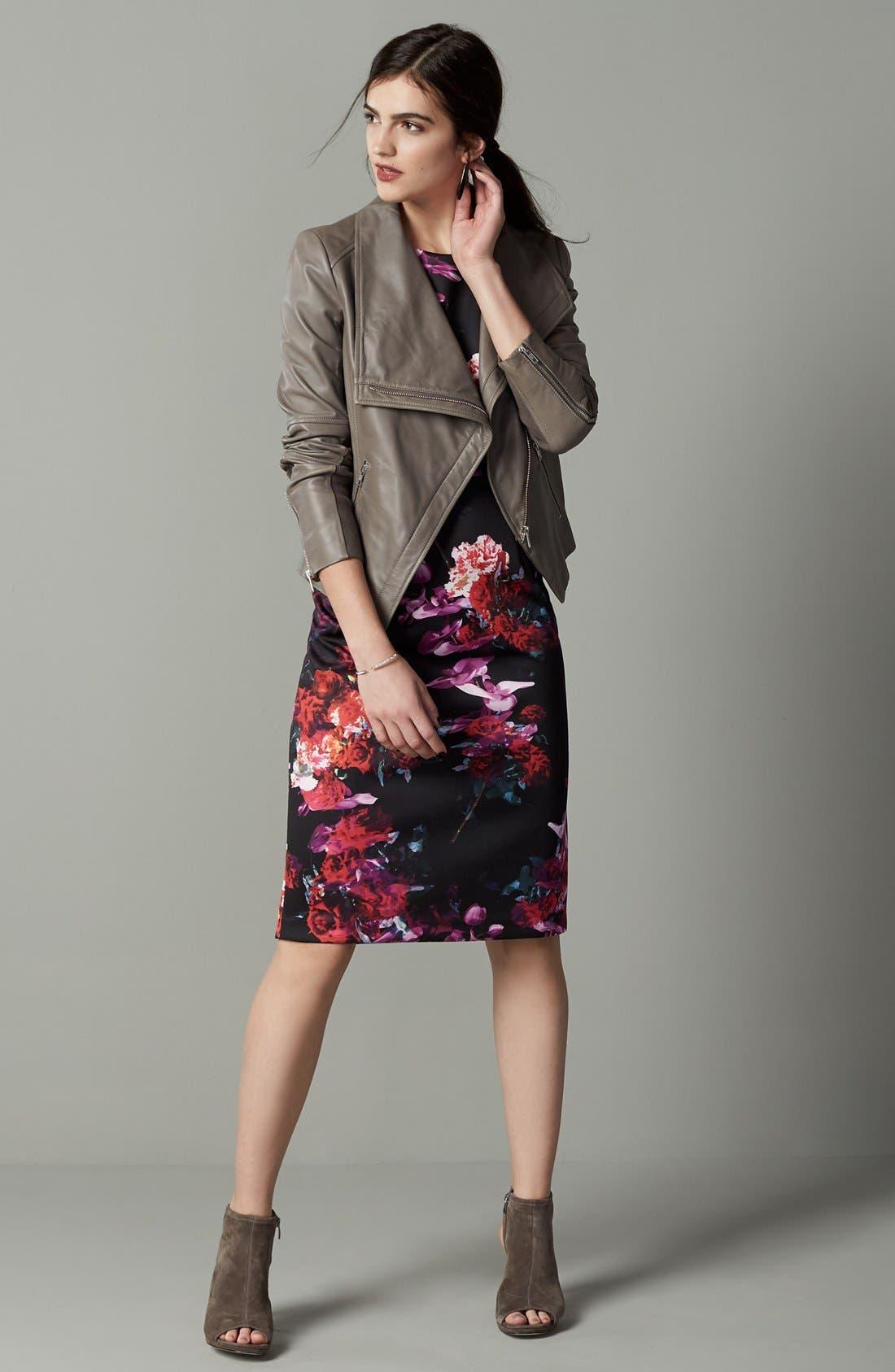 Floral Print Knit Sheath Dress,                             Alternate thumbnail 2, color,                             006