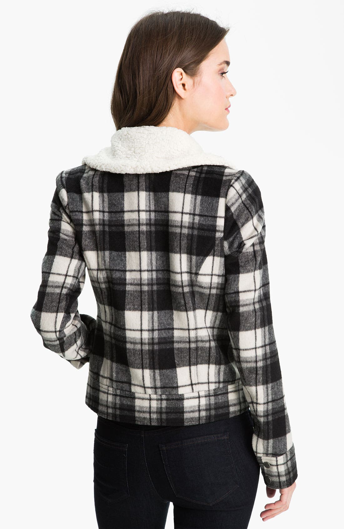 Buffalo Plaid Moto Jacket,                             Alternate thumbnail 3, color,                             001