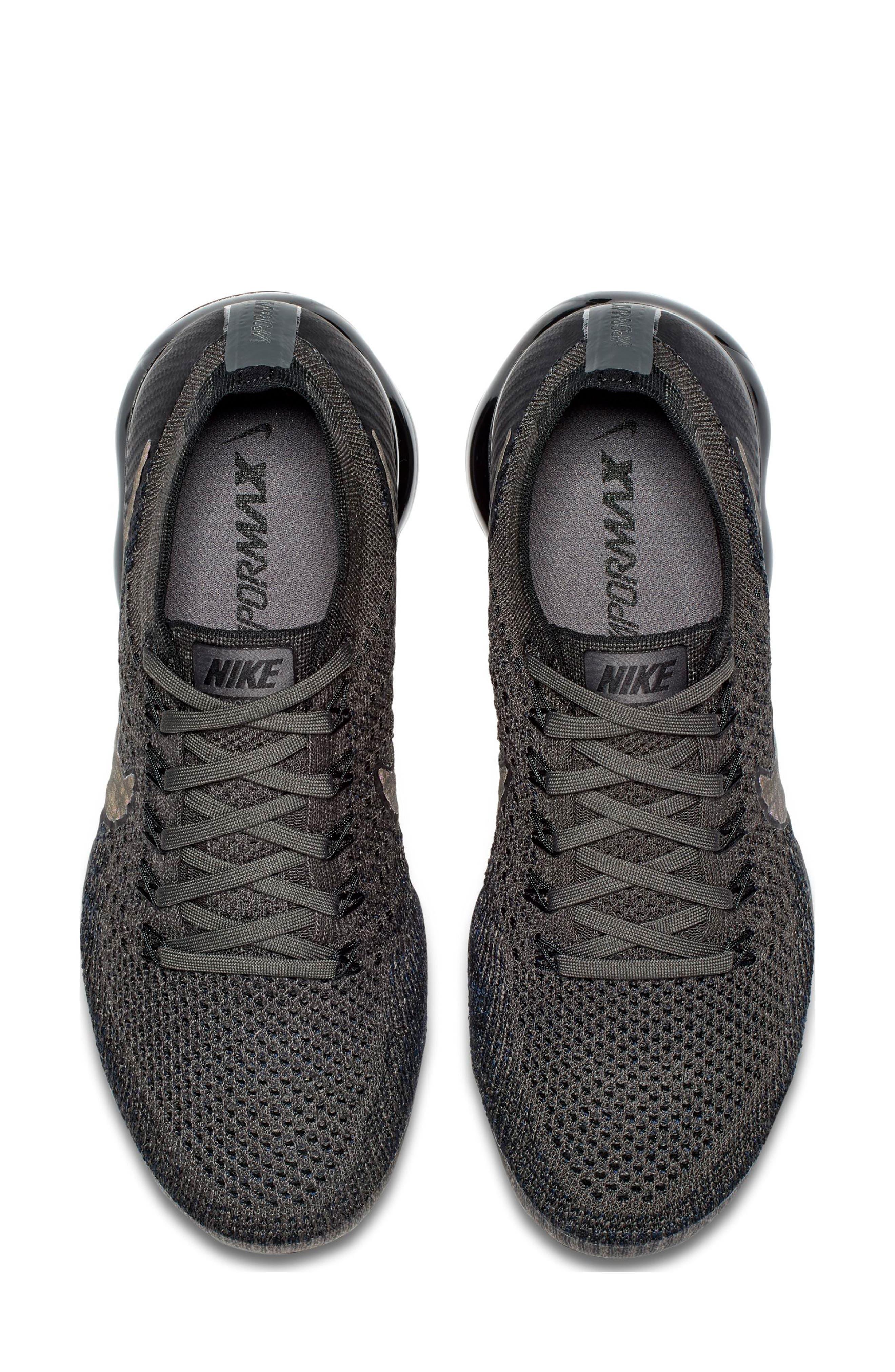 Air VaporMax Flyknit Running Shoe,                             Alternate thumbnail 5, color,                             MIDNIGHT FOG/ BLACK