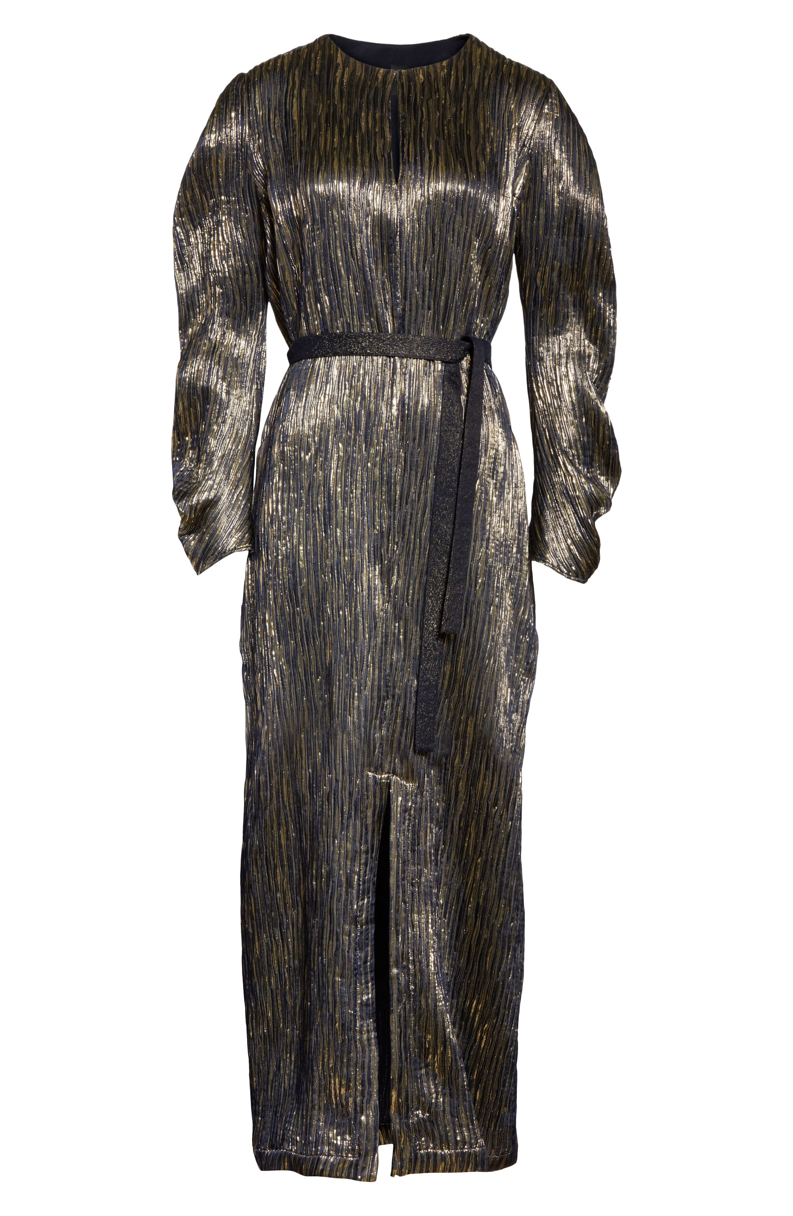Metallic Silk Blend Midi Dress,                             Alternate thumbnail 6, color,                             004