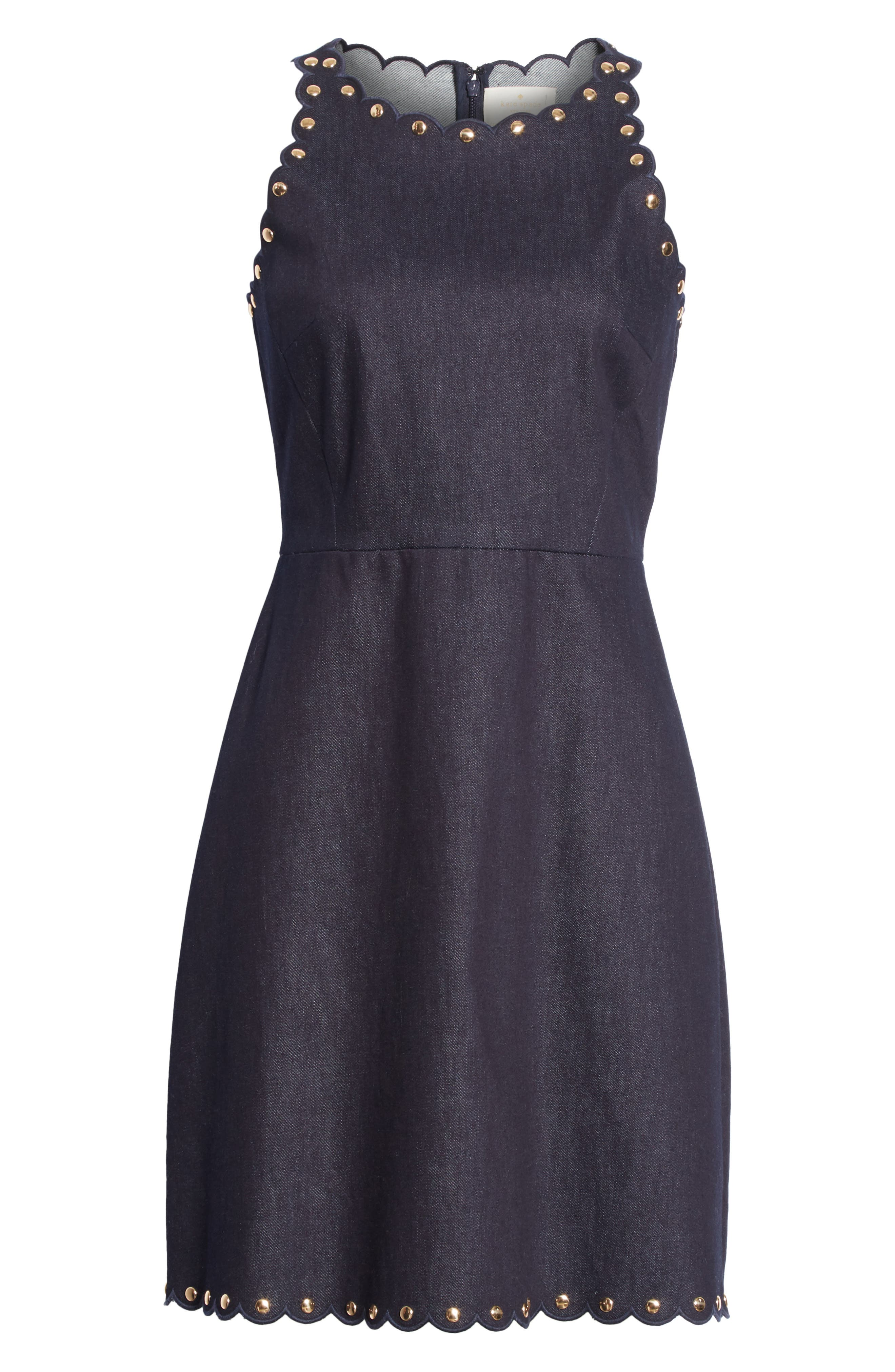 rivet detail denim fit & flare dress,                             Alternate thumbnail 6, color,                             INDIGO