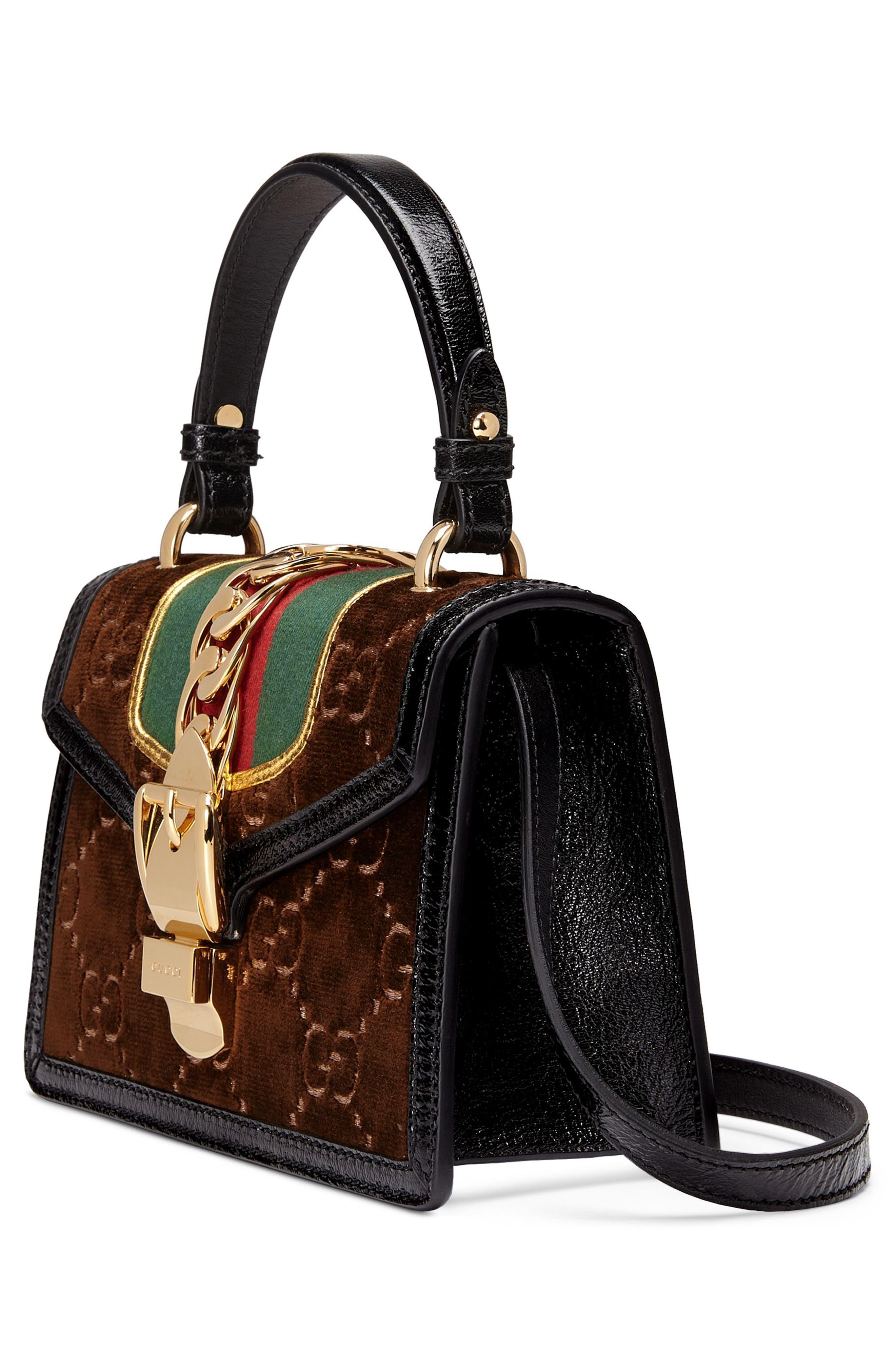 Mini Sylvie Velvet Top Handle Bag,                             Alternate thumbnail 5, color,                             BROWN/ NERO/ VERT RED VERT