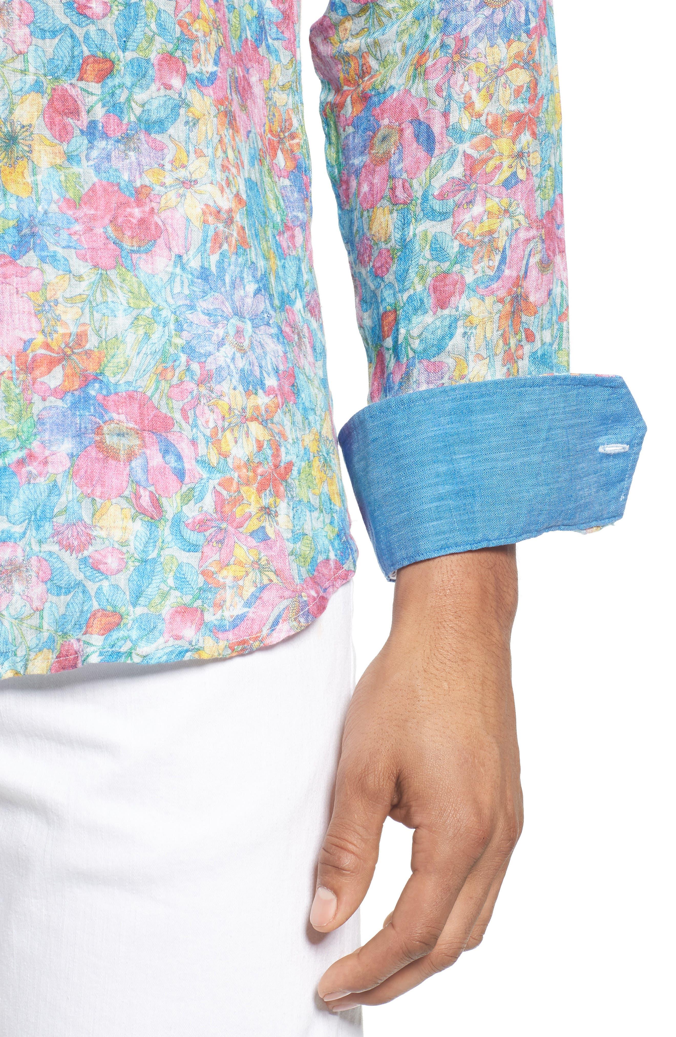 Shaped Fit Floral Linen Sport Shirt,                             Alternate thumbnail 4, color,                             329