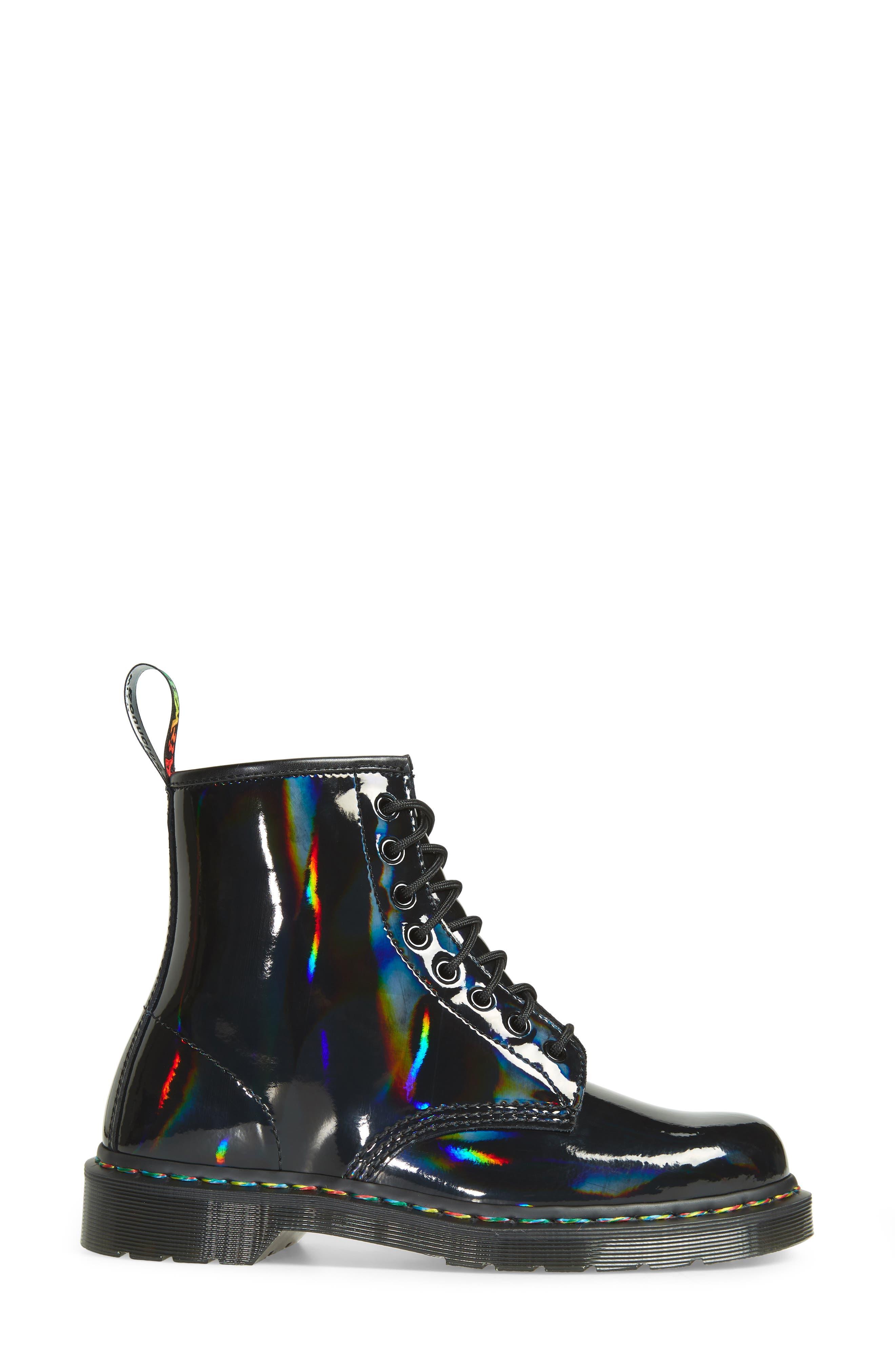 1460 Rainbow Patent Boot,                             Alternate thumbnail 3, color,                             001