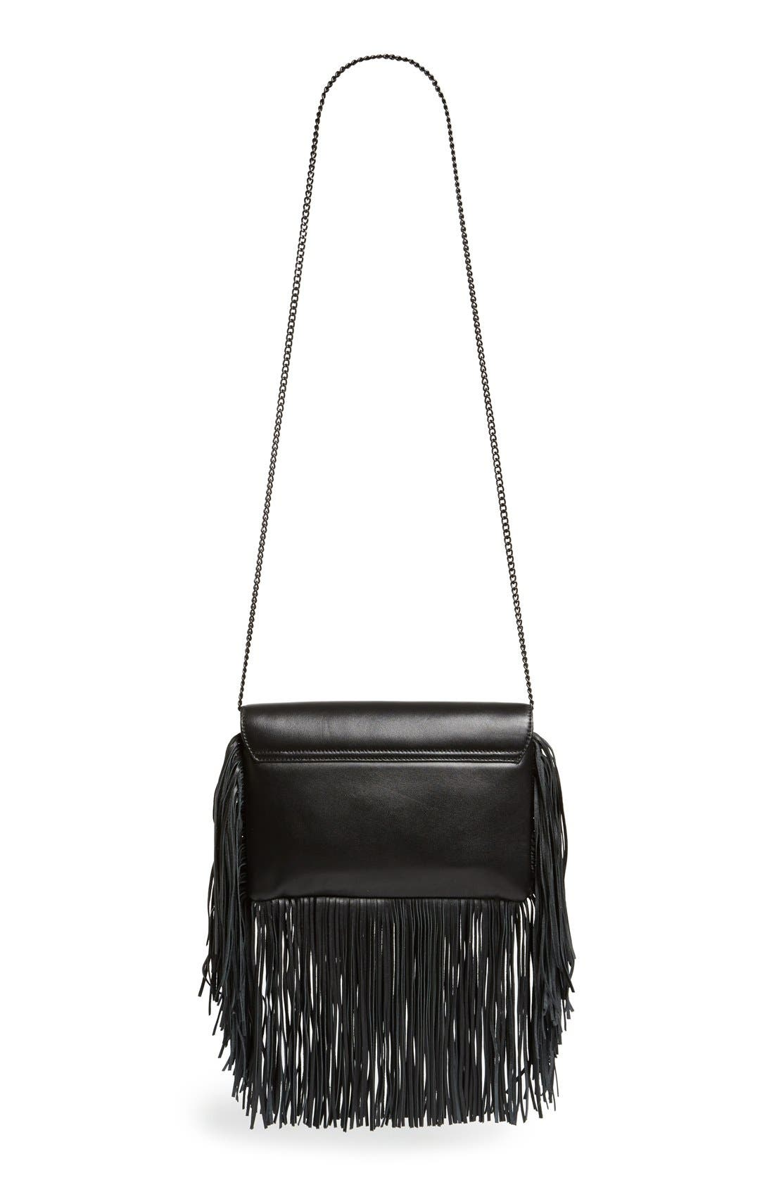 'Lock' Fringe Clutch,                             Alternate thumbnail 4, color,                             001