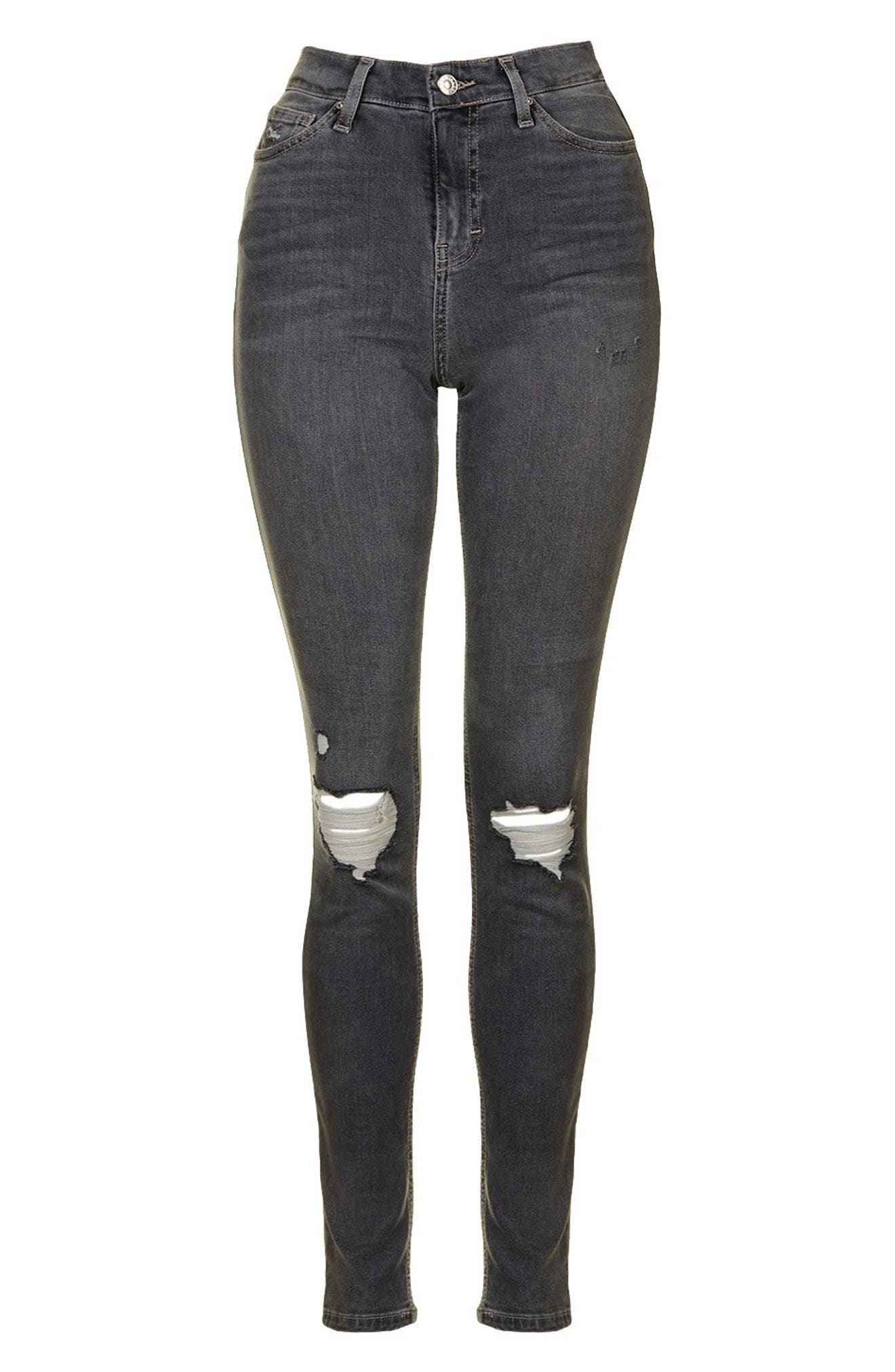 Jamie Ripped Skinny Jeans,                             Alternate thumbnail 3, color,                             GREY