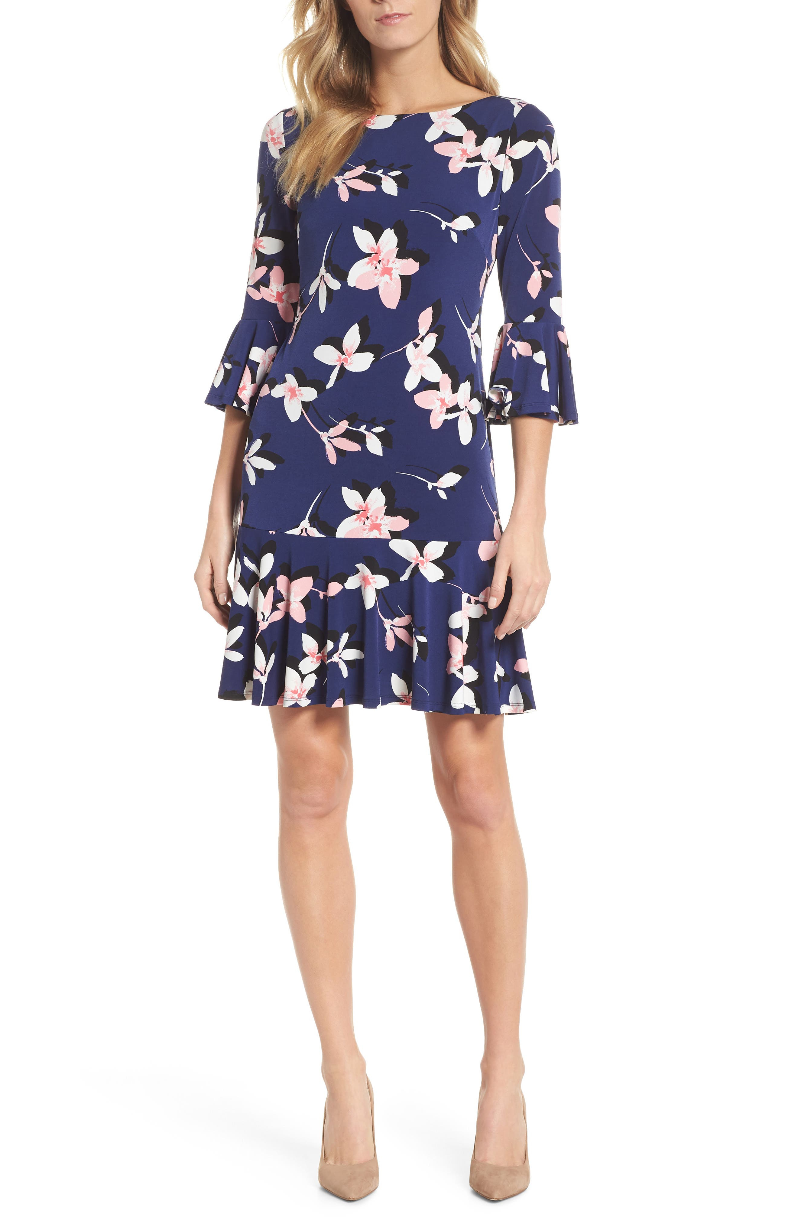 Floral Bell Sleeve Dress,                             Main thumbnail 1, color,                             NAVY/ PINK