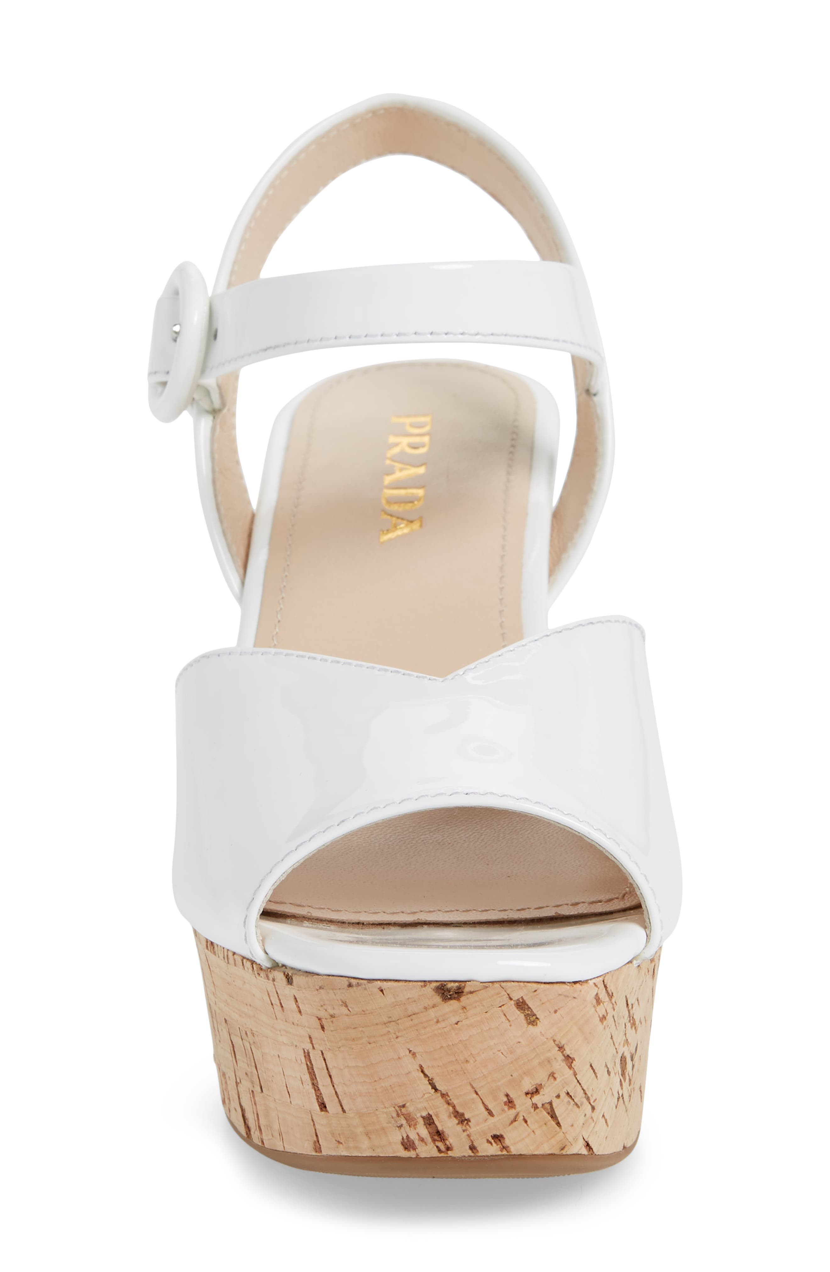 Wedge Platform Sandal,                             Alternate thumbnail 4, color,                             WHITE PATENT