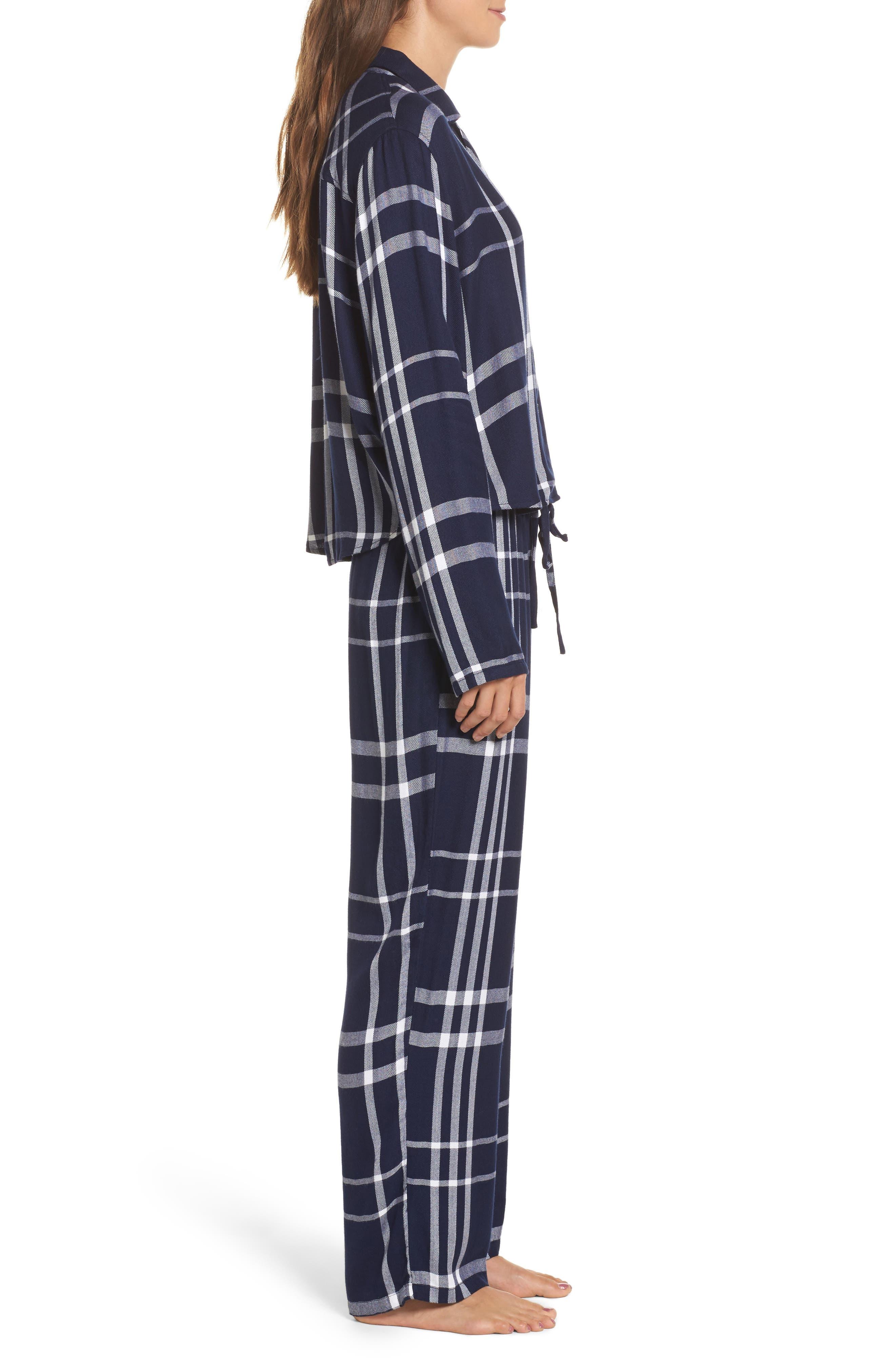 Plaid Pajamas,                             Alternate thumbnail 3, color,                             CADET/ WHITE