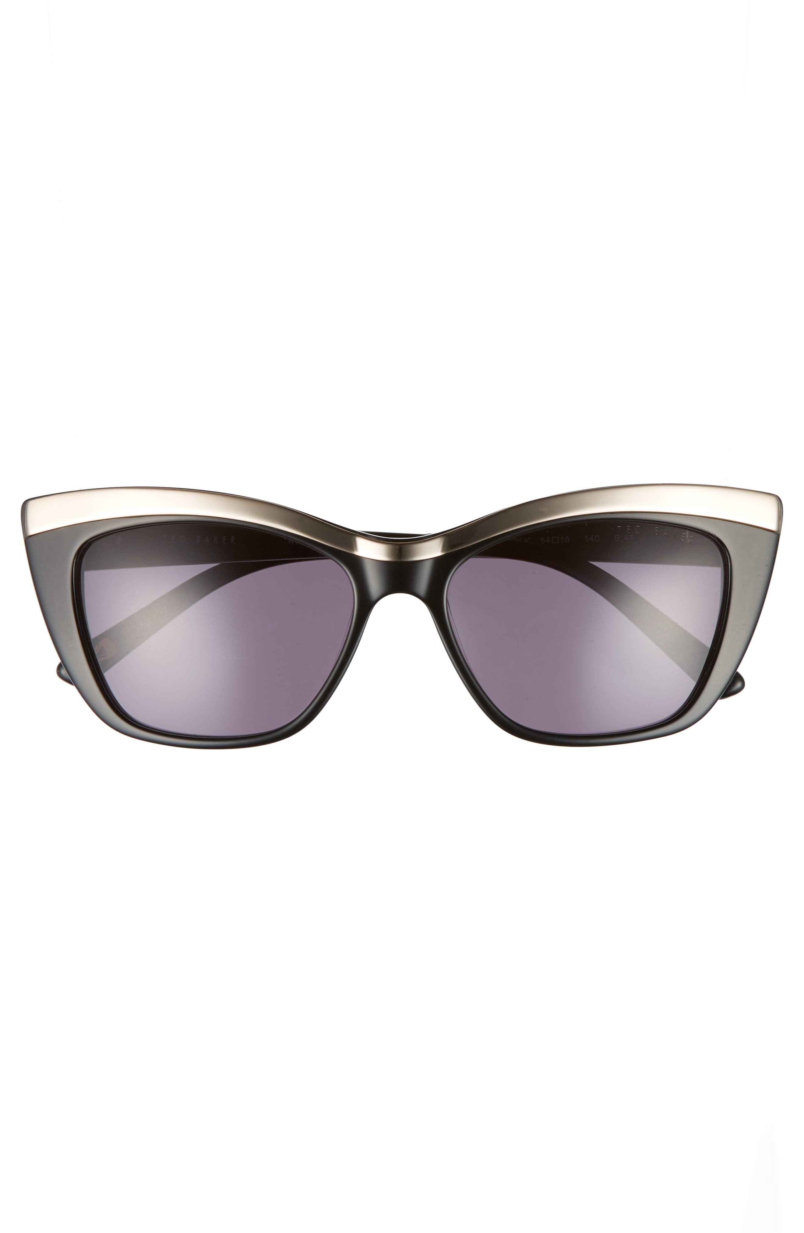 54mm Rectangle Cat Eye Sunglasses,                             Alternate thumbnail 3, color,                             001